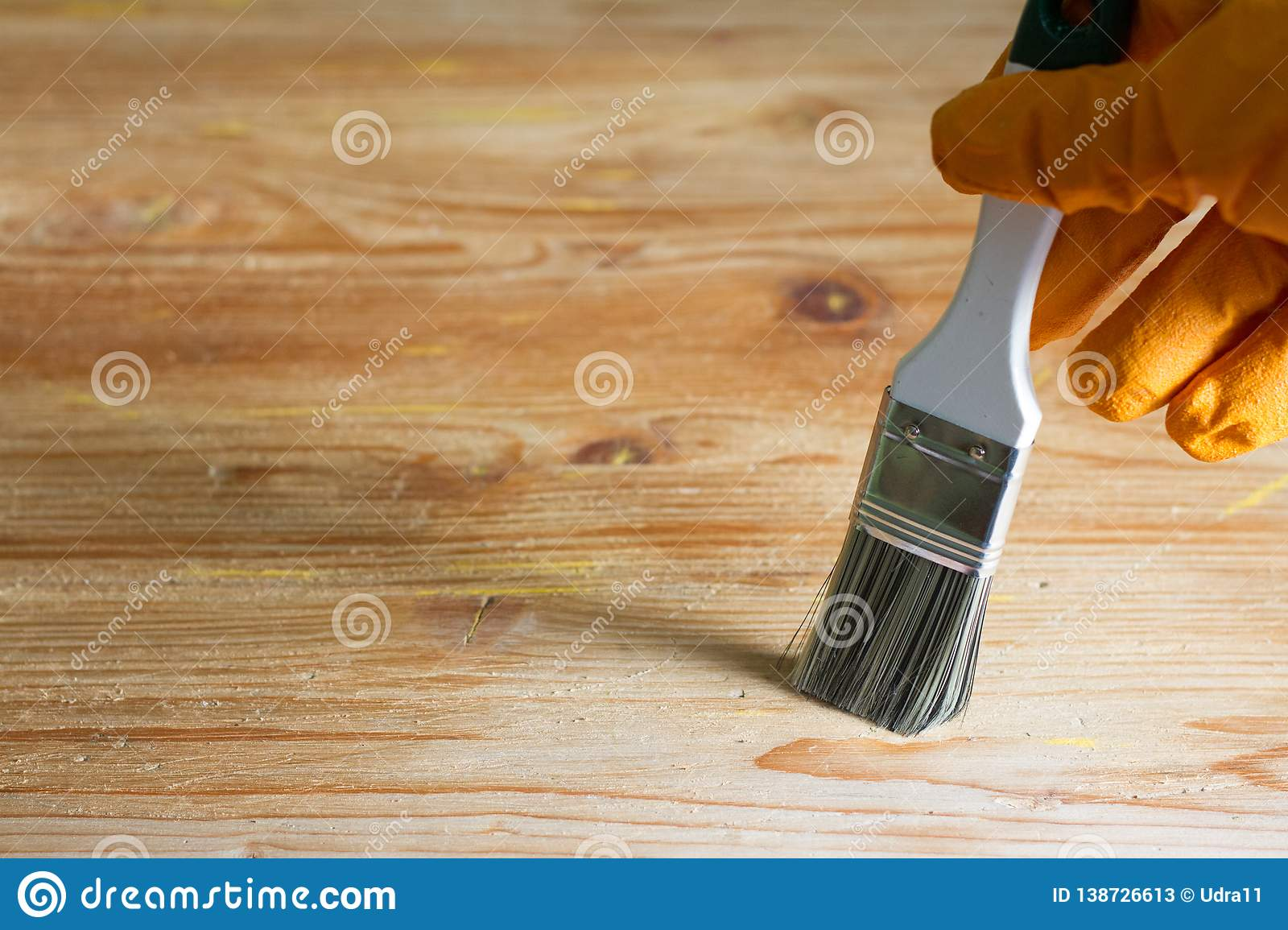 Painting and home renovation abstract background on wooden board