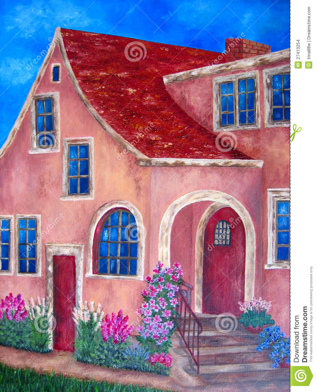painting of house with blue windows and flowers stock images