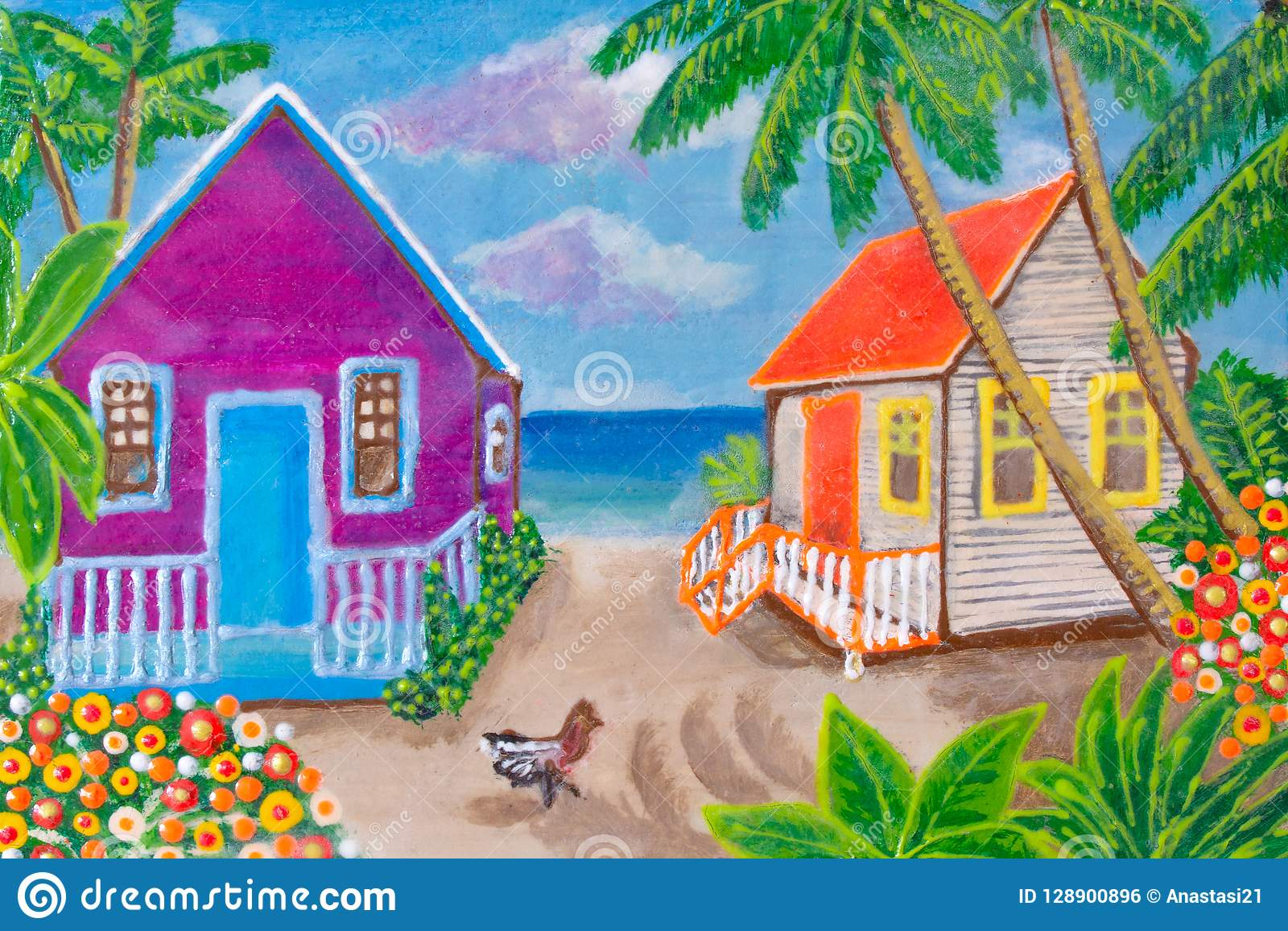 Painting Houses On The Beach Agriculture Bright Colors Stock