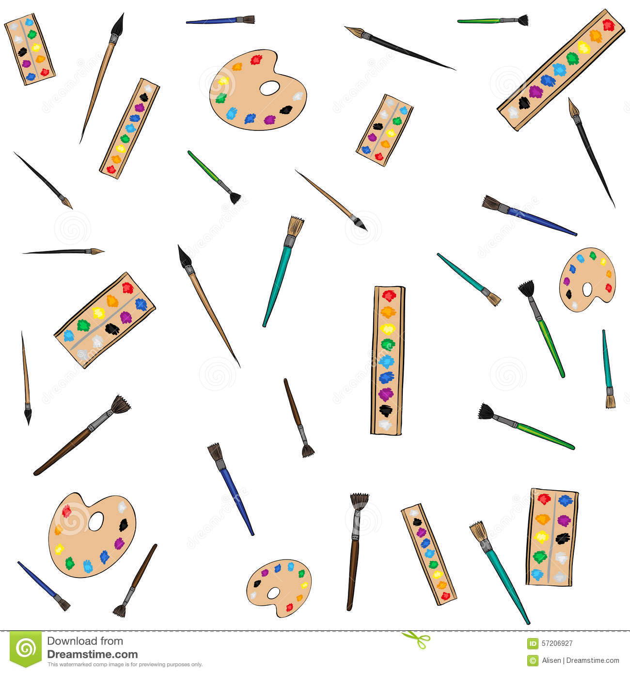Painting Instruments Art Pattern Stock Vector Image