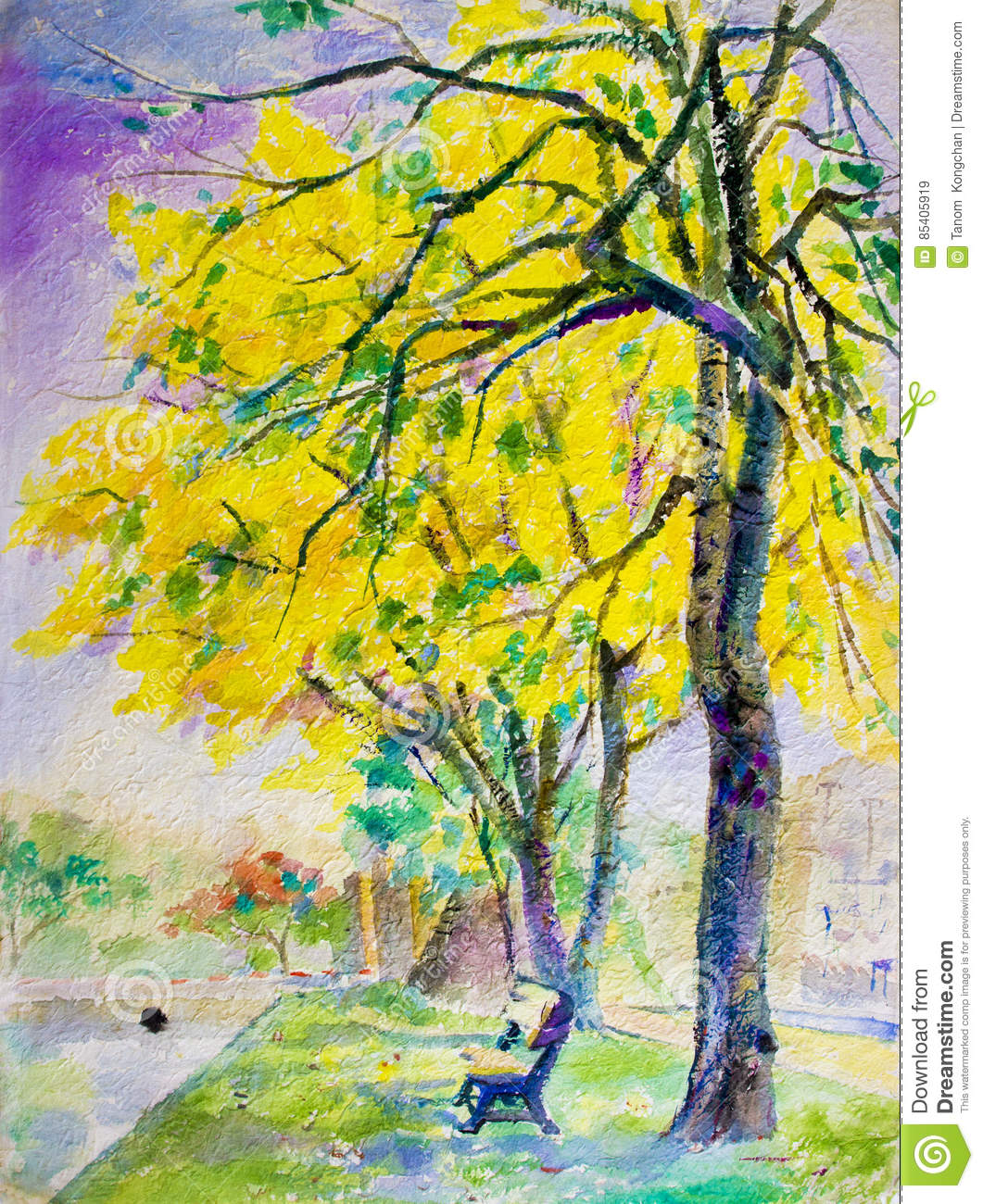Painting Landscape Colorful Of Golden Tree Flowers In Park Street ...