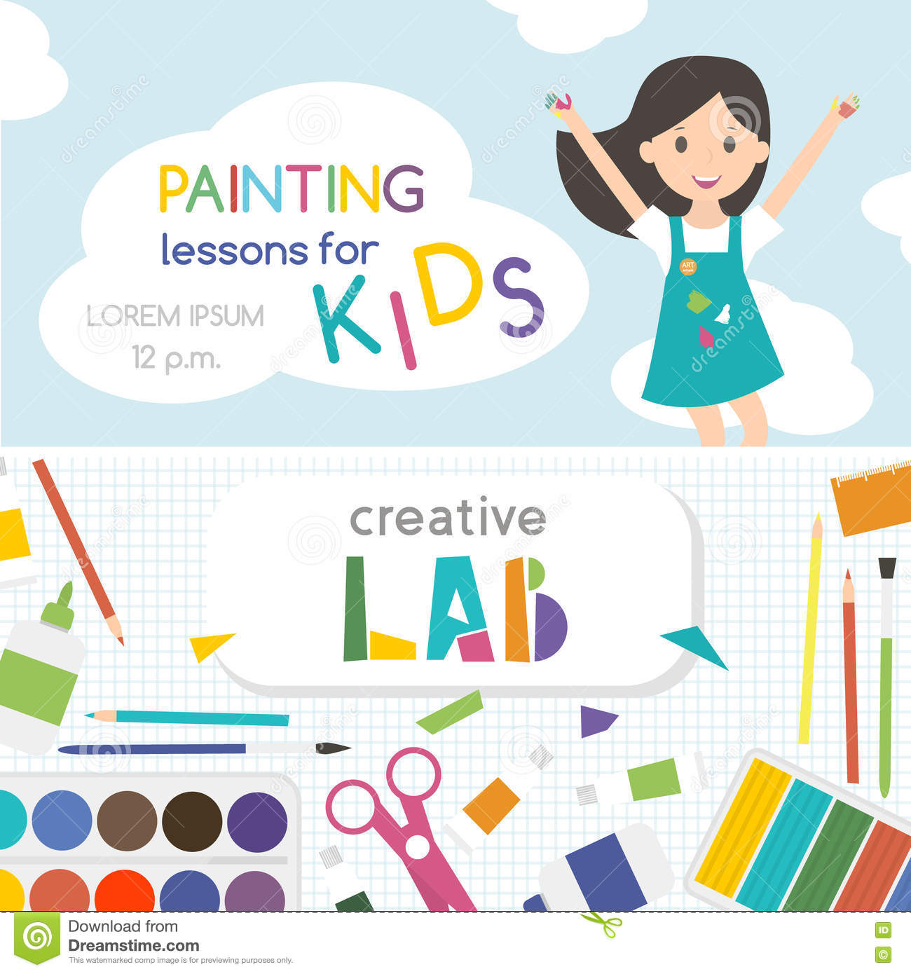 Painting lessons top view on art working process kids for Art and craft classes for kids