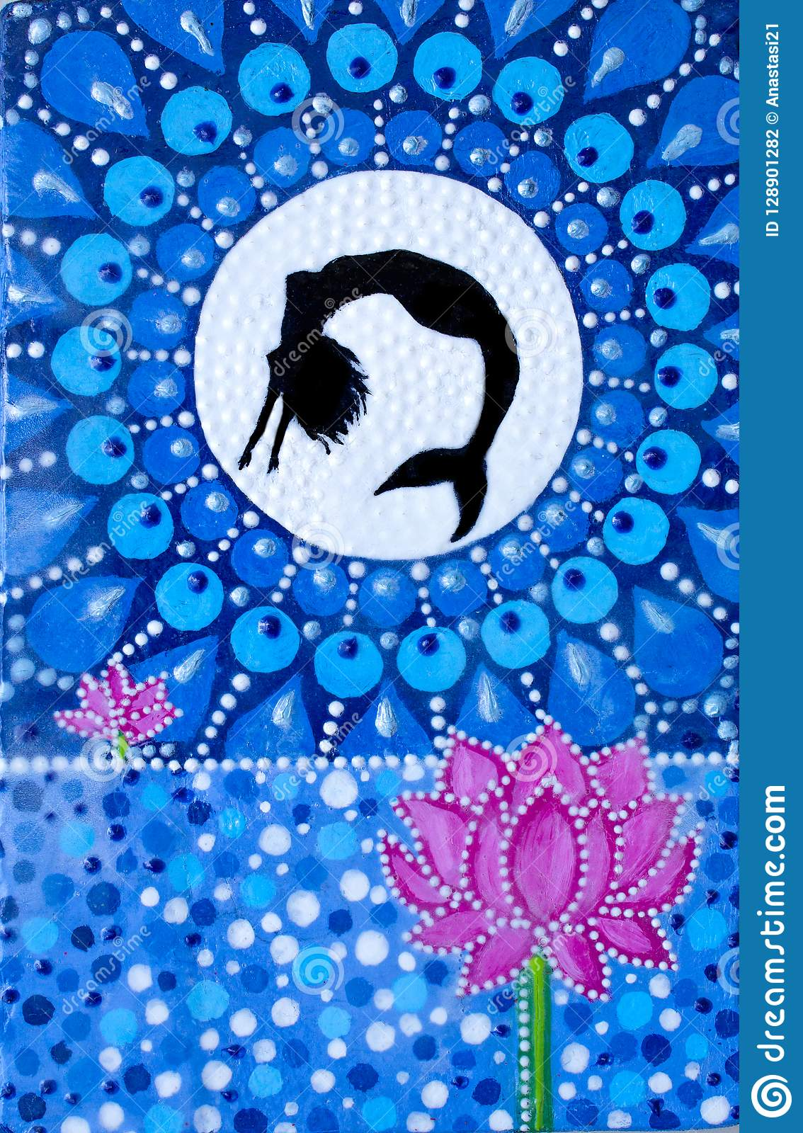 Painting A Mermaid Jumping From The Lake At The Moon Lotus Flower