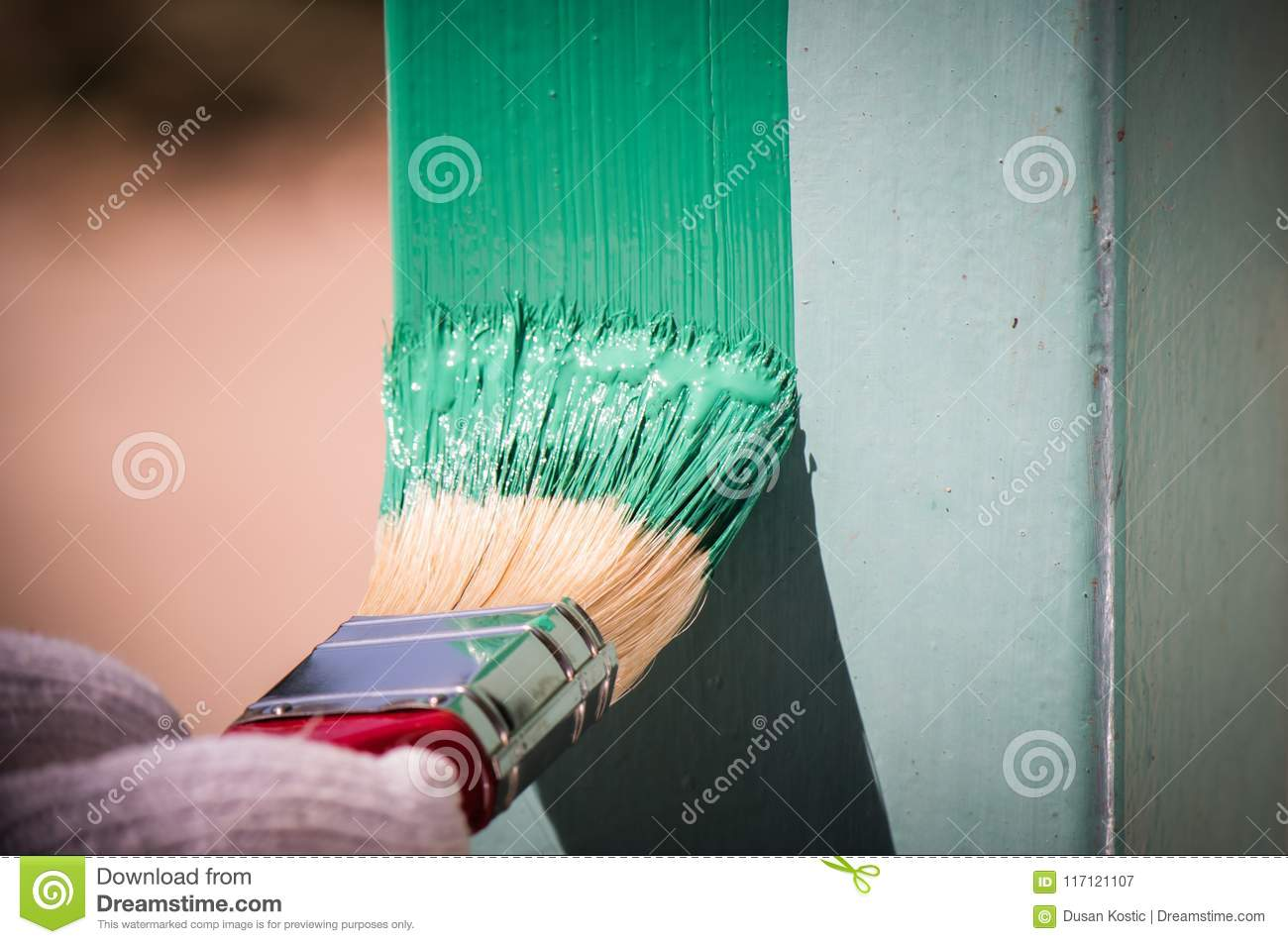 Painting Metal Surface With A Brush Stock Image - Image of renovate ...