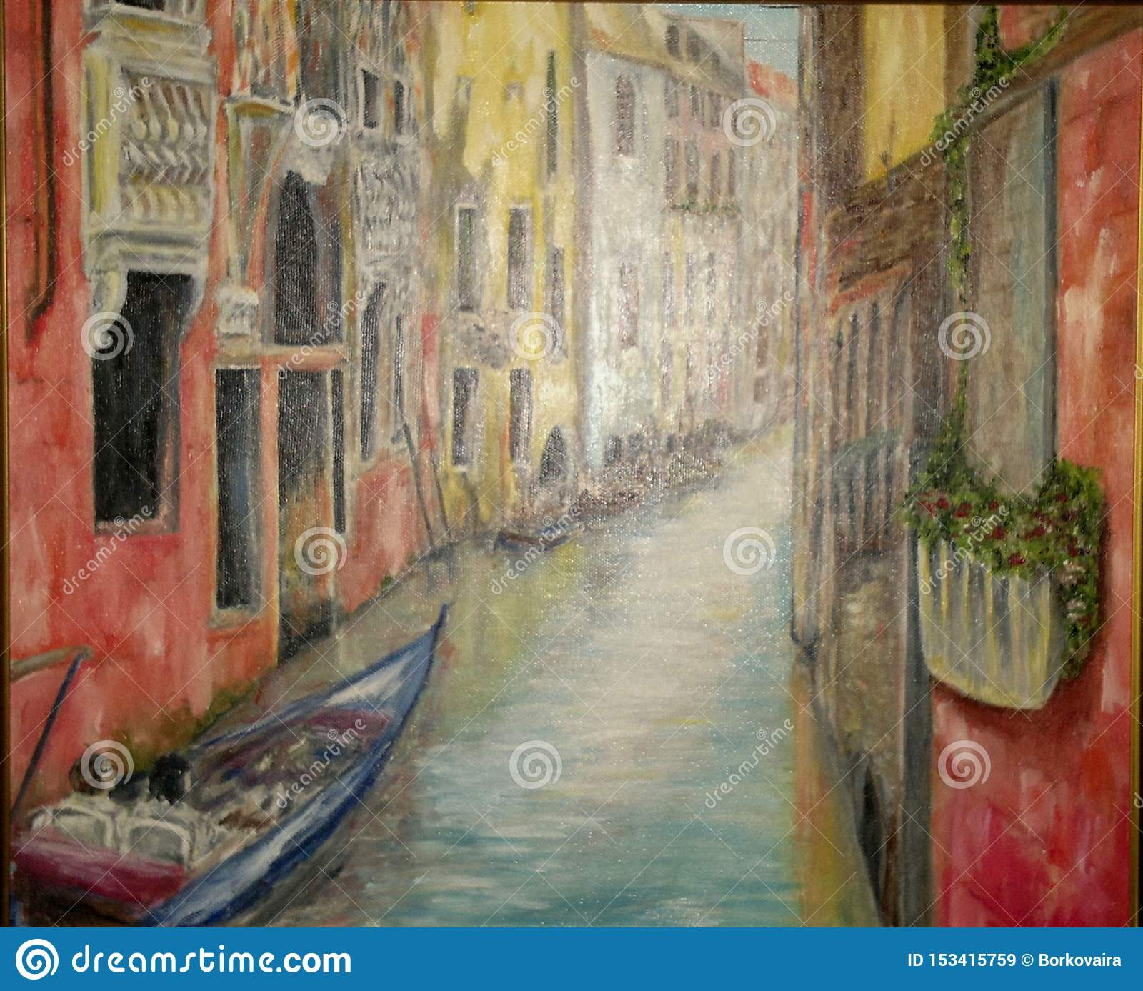Painting, oil painting `Venice Street`