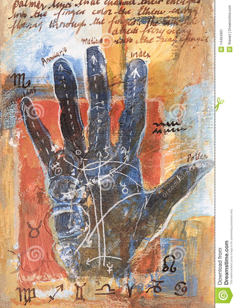 Painting Of Palm Reading With Symbols Stock Illustration