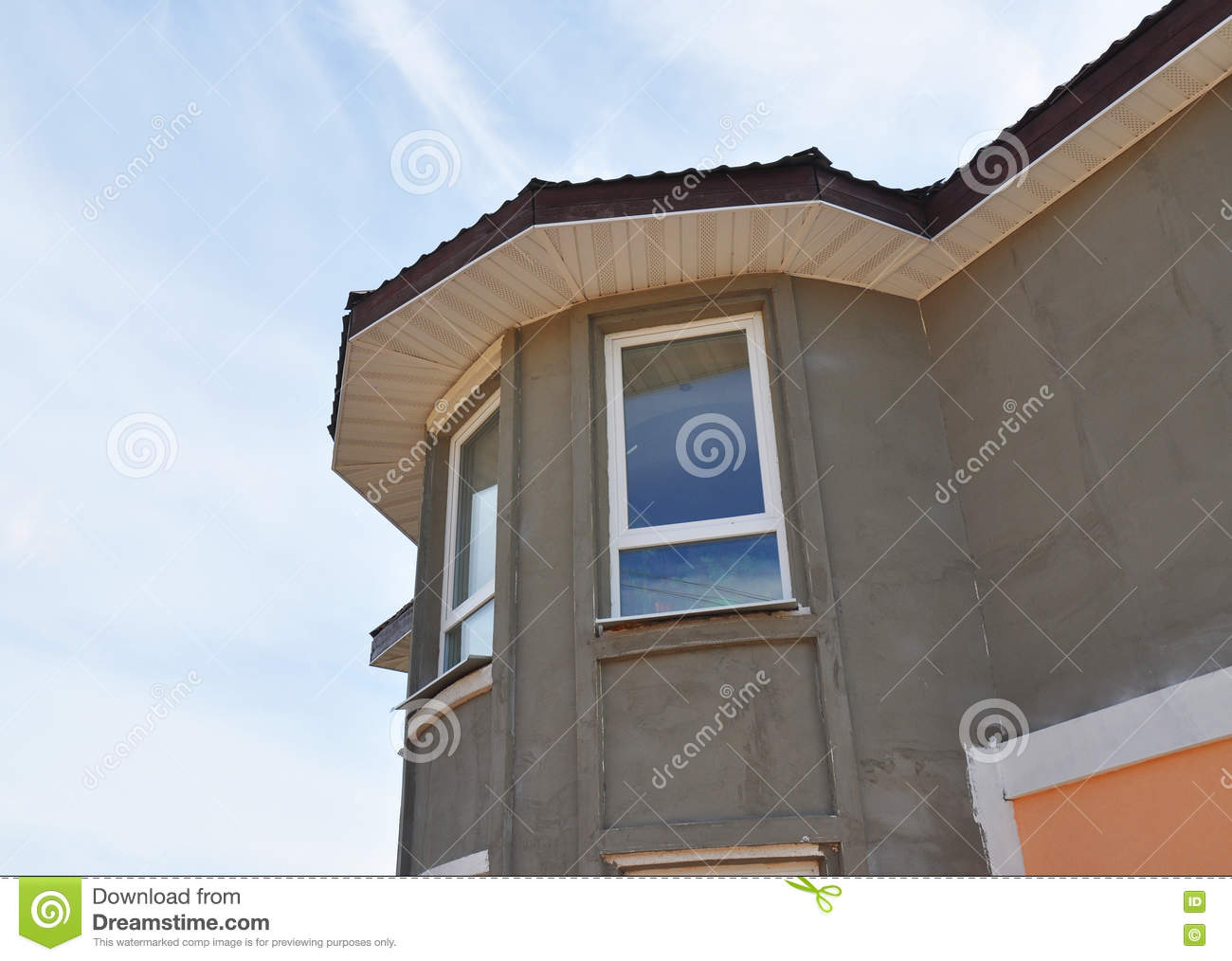 Painting And Plastering Exterior House Tower Wall Facade Thermal Insulation And Painting Works