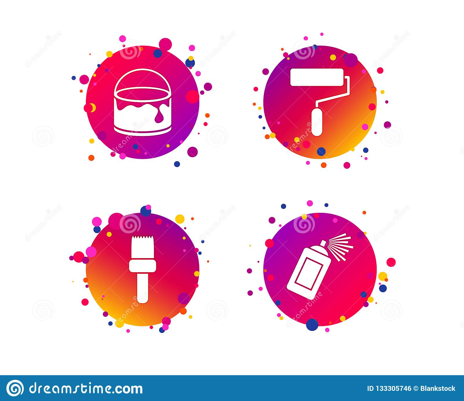 Painting Roller, Brush Icon  Spray And Paint Can  Vector