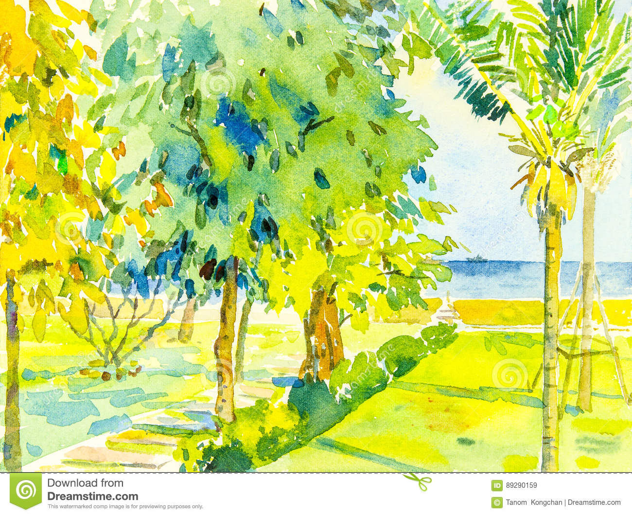 Painting seascape colorful of sea and green garden and emotion