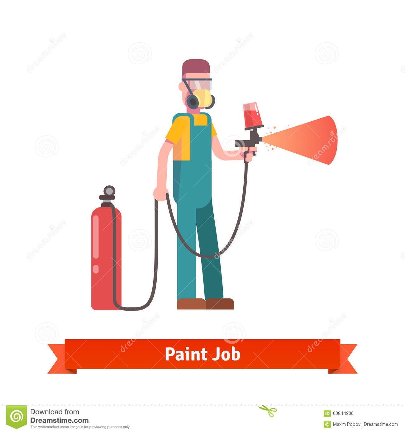 painting specialist spraying paint from pulveriser stock