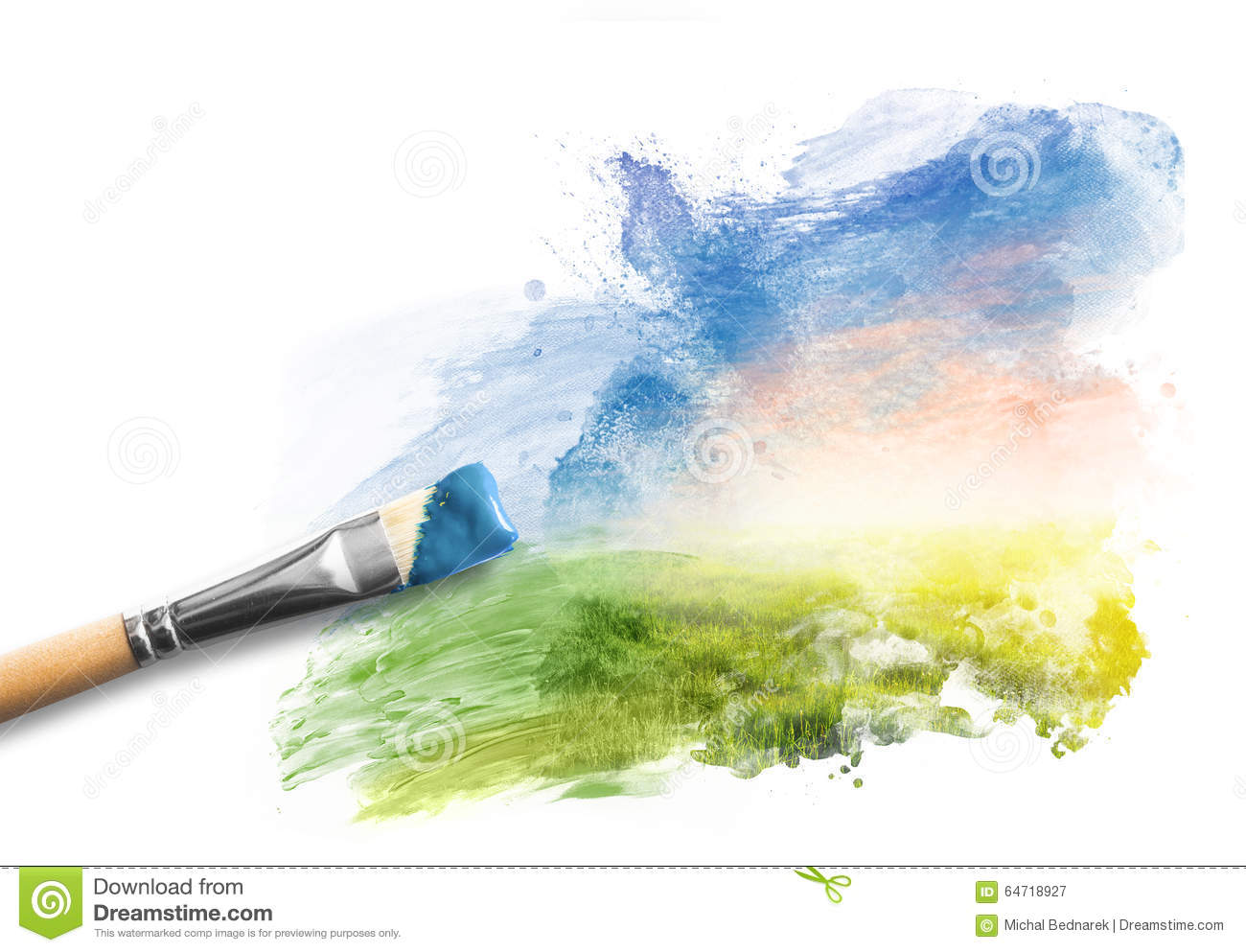 painting the spring landscape brush with blue paint over