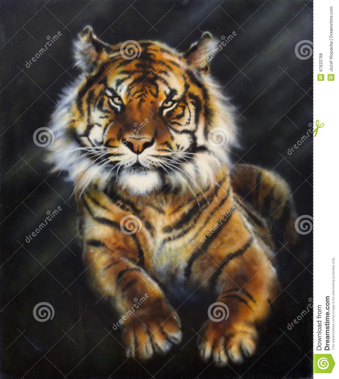 A Painting Of A Tiger On Black Background Stock