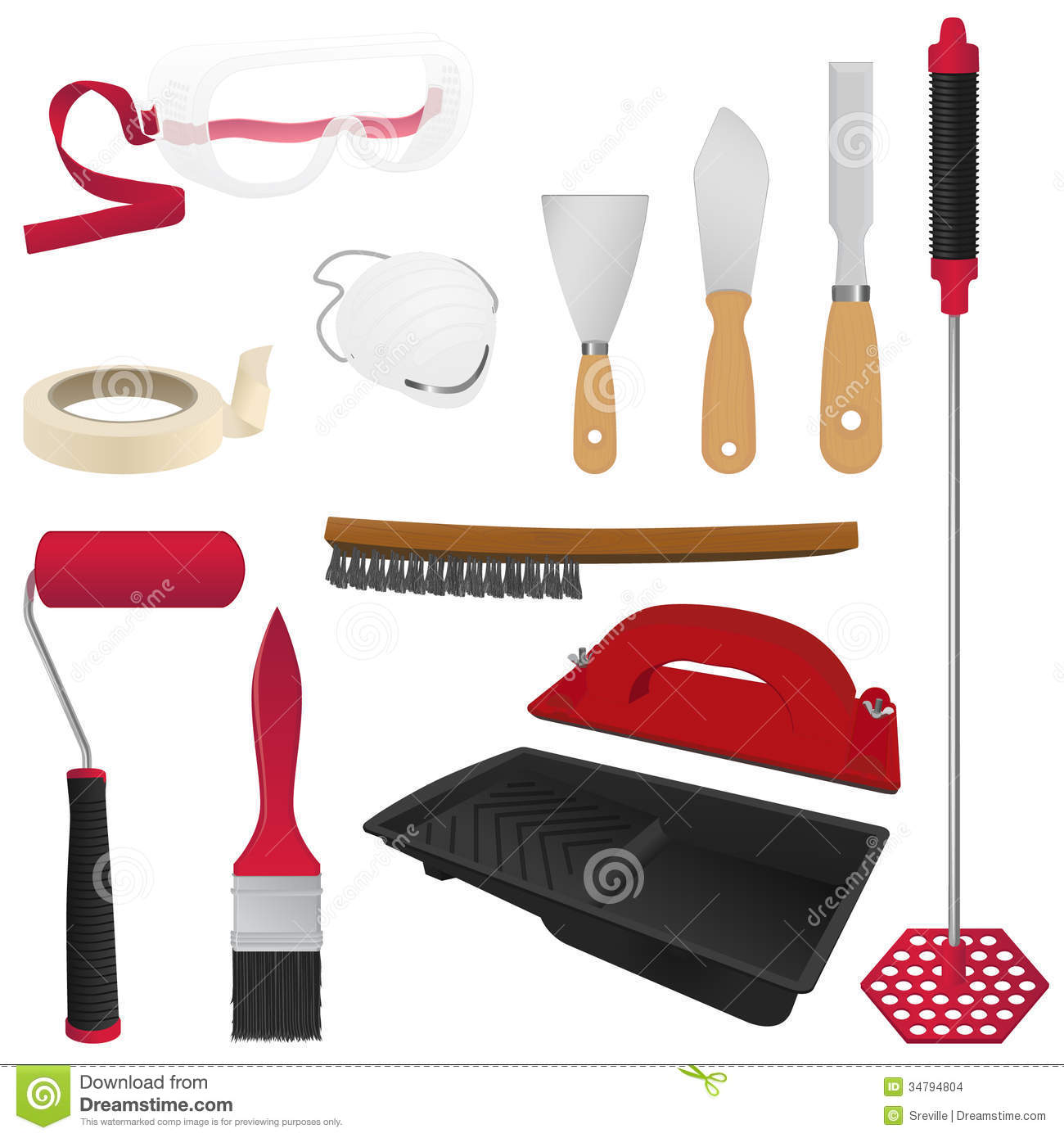 Painting tools stock images image 34794804 for Wall painting utensils