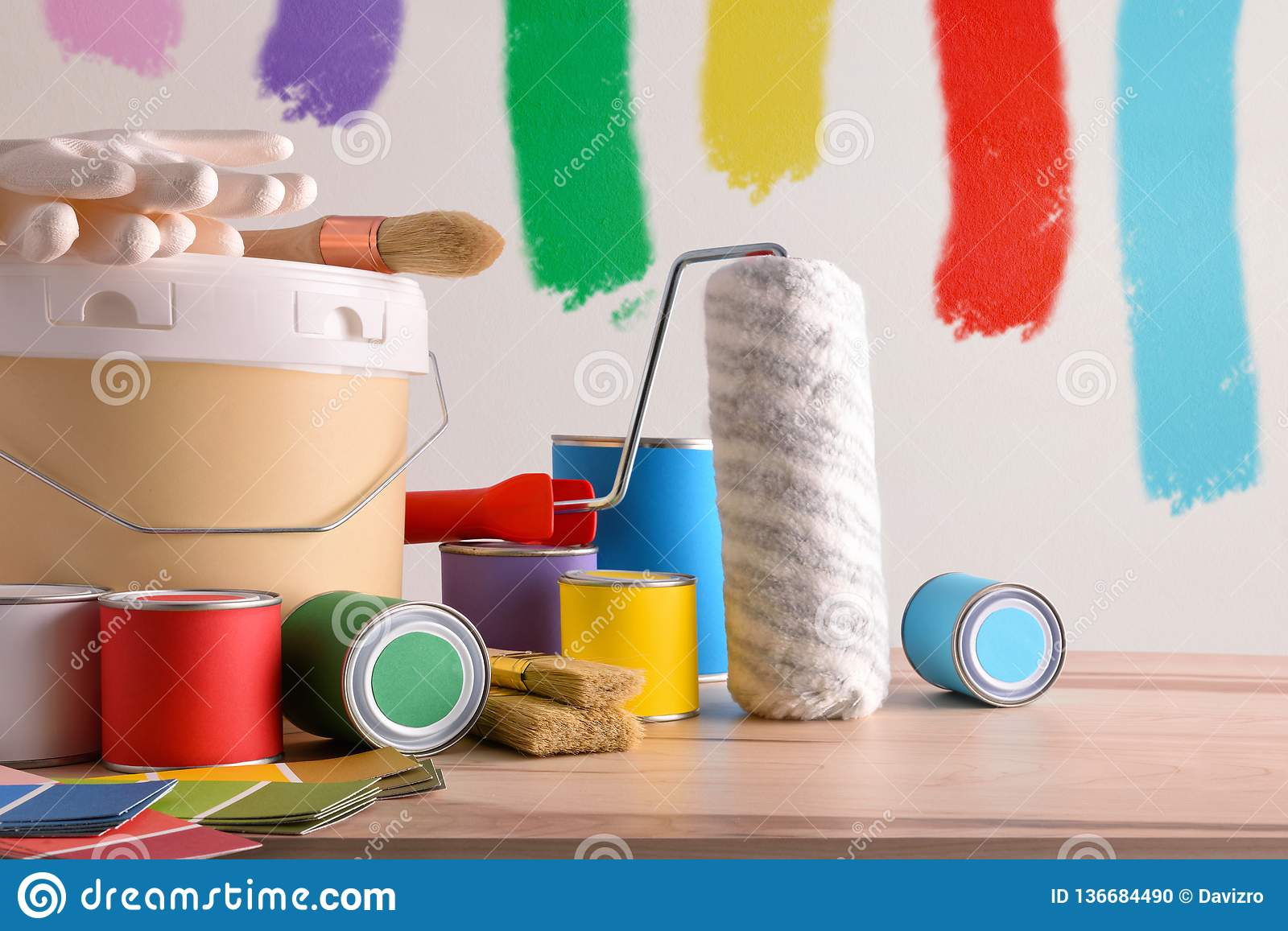 Painting Tools Composition For Home Painted Wall Background Stock