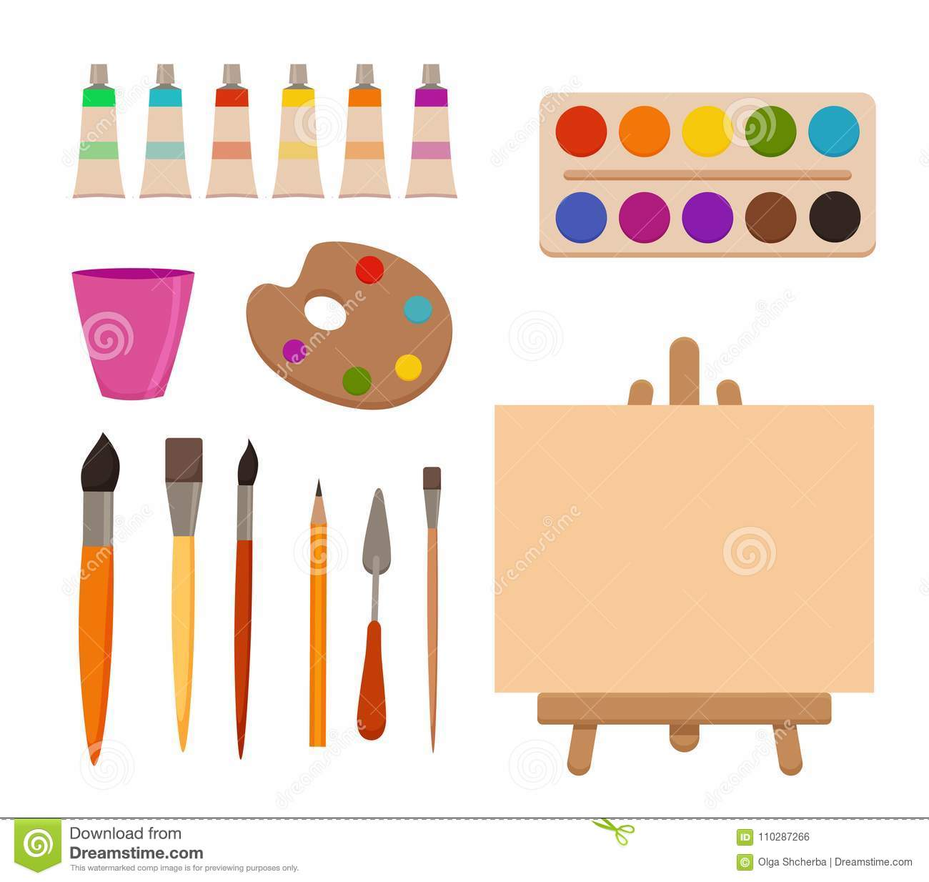 Painting Tools Elements Cartoon Colorful Vector Set. Stock