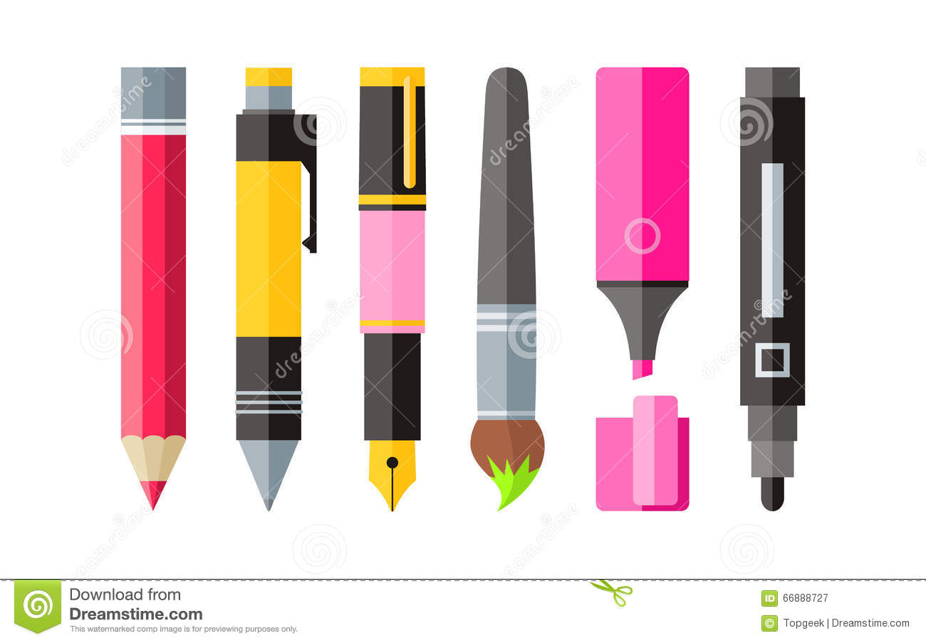 Painting Tools Pen Pencil And Marker Flat Design Stock