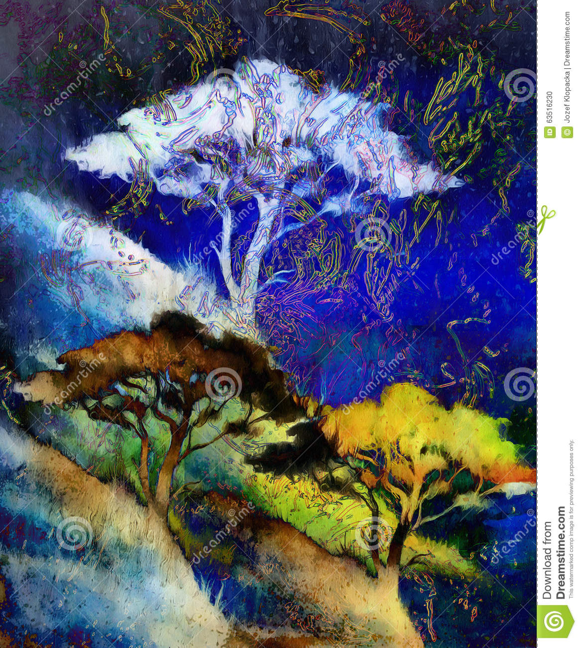 Painting Tree, Wallpaper Landscape, Color Collage Stock