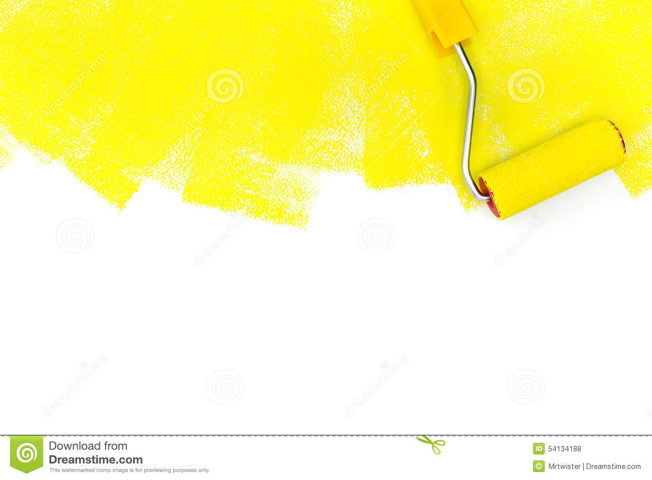Painting a wall with roller and yellow paint stock photo for White paint going yellow