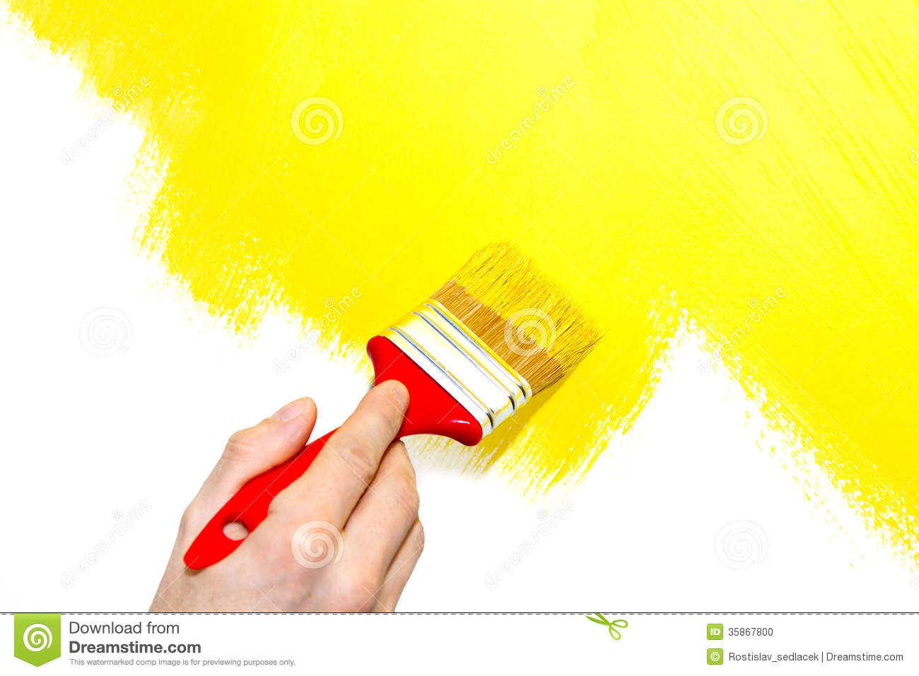 Painting a wall yellow stock illustration. Illustration of ...