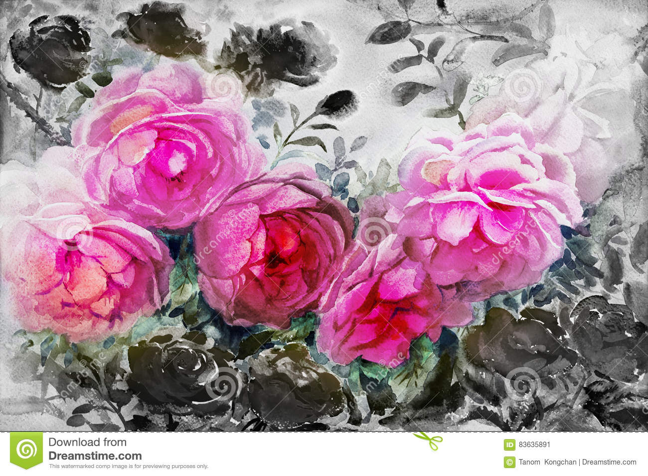 Painting Watercolor Flowers Landscape Pink Black Color Of Roses