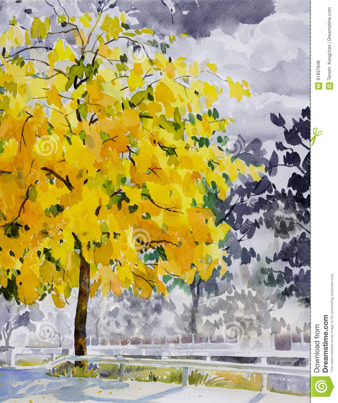 Painting Watercolor Landscape Yellow Color Of Golden Tree Flower