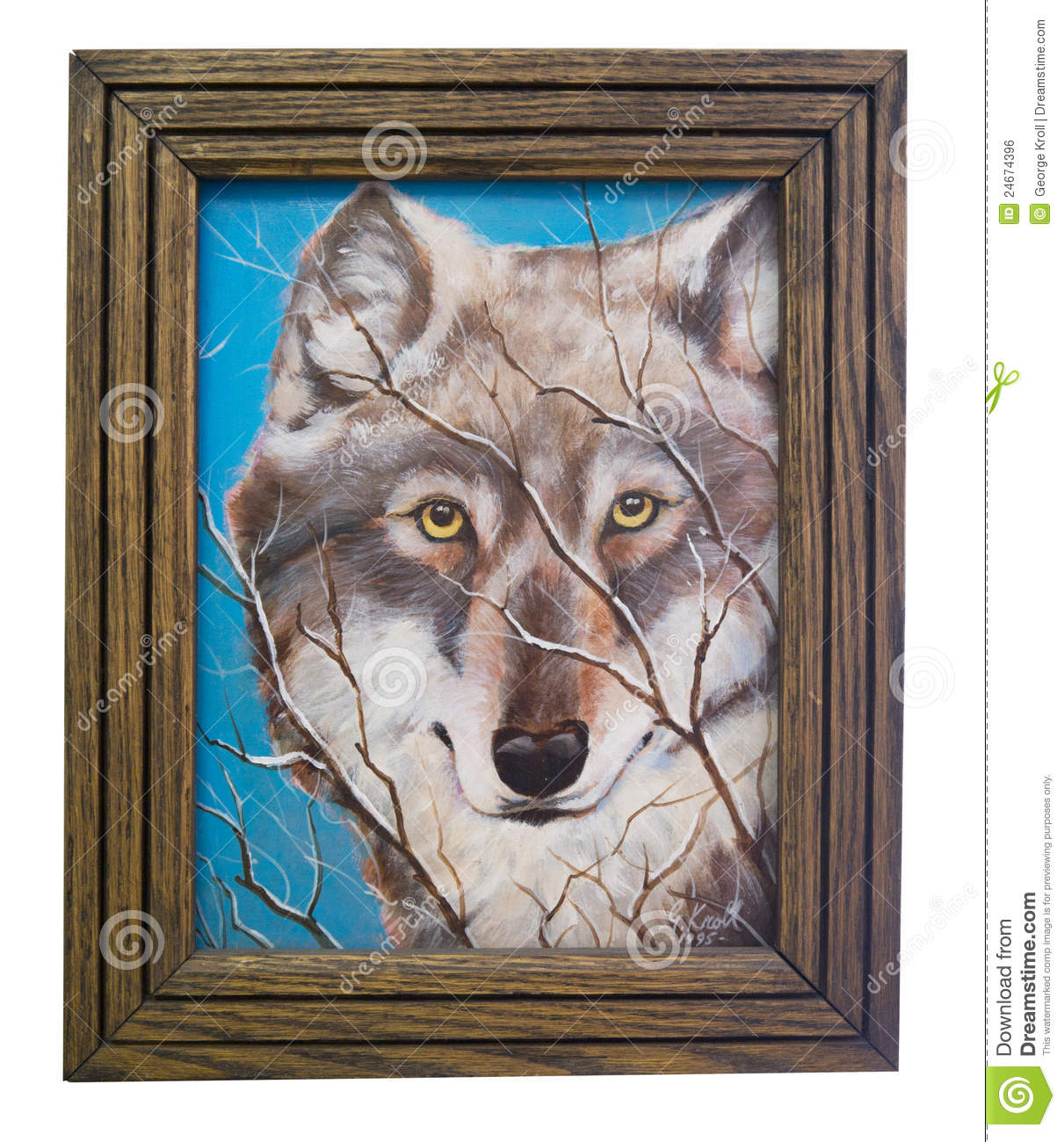 Painting of a Wolf by artist with Frame