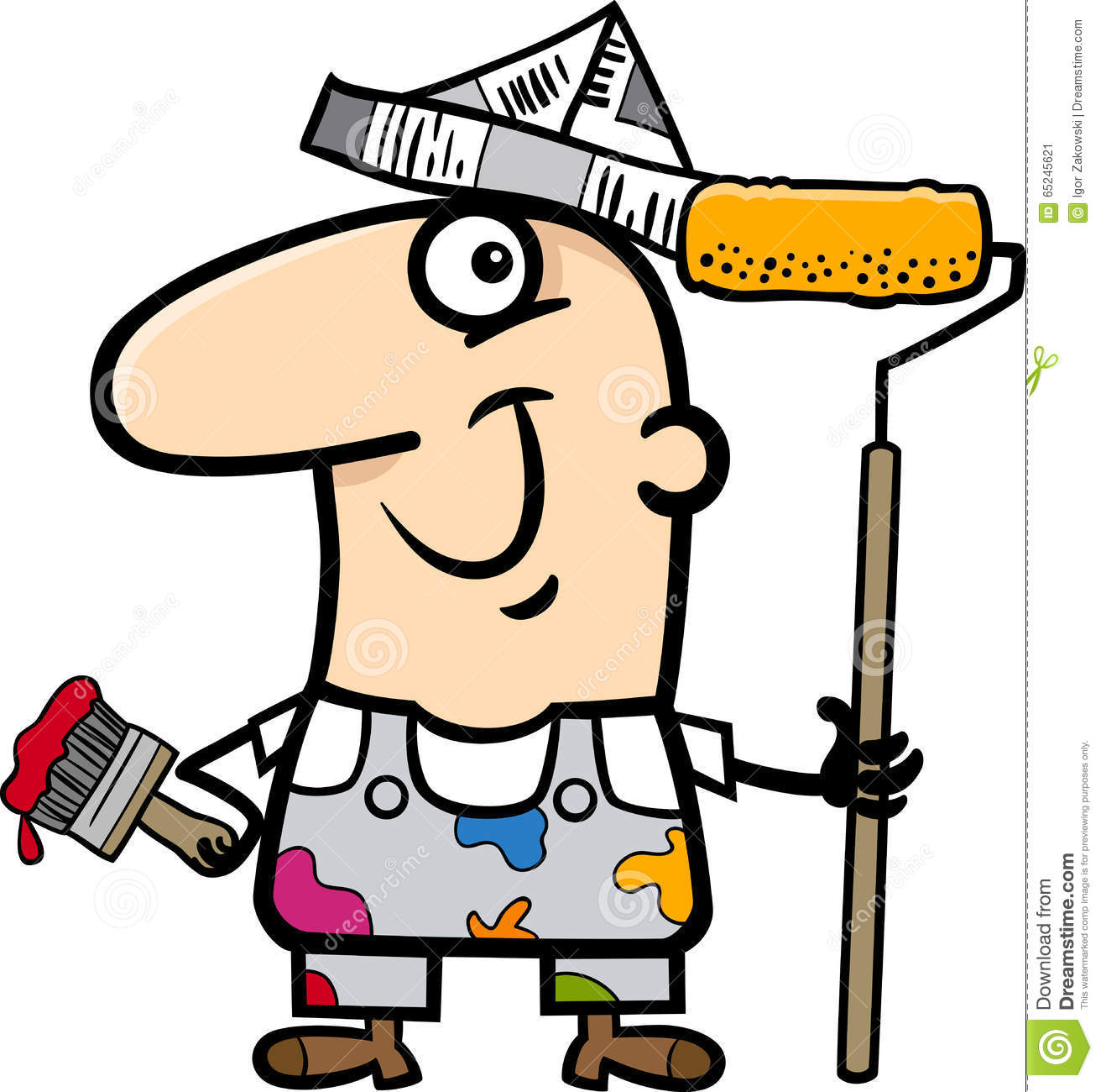 House Builder 3d Painting Worker Cartoon Illustration Stock Vector Image