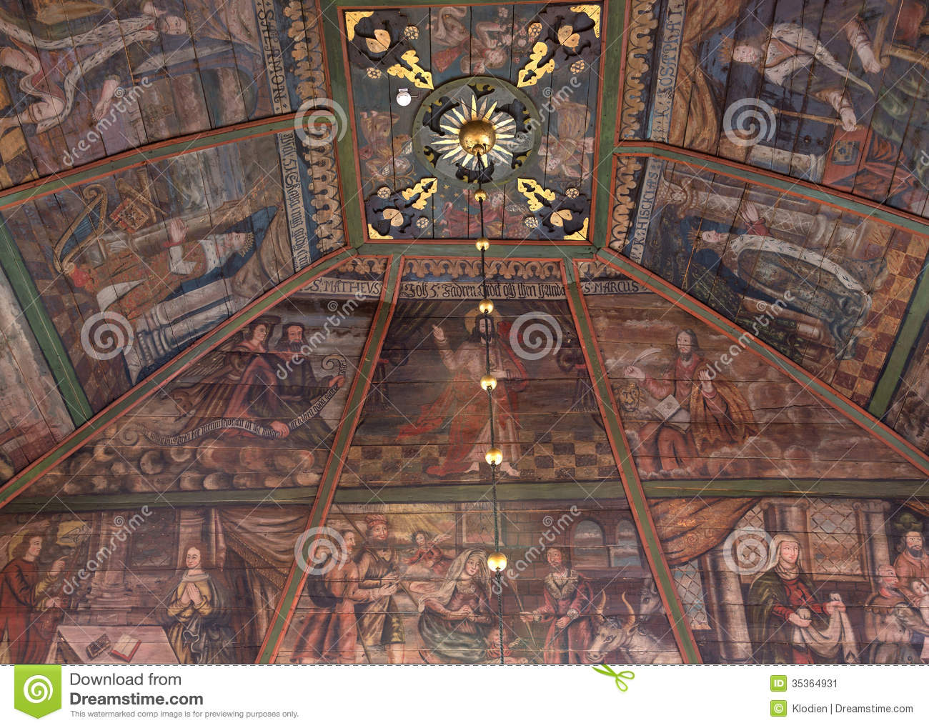paintings on ceiling in tornio church finnish lapland