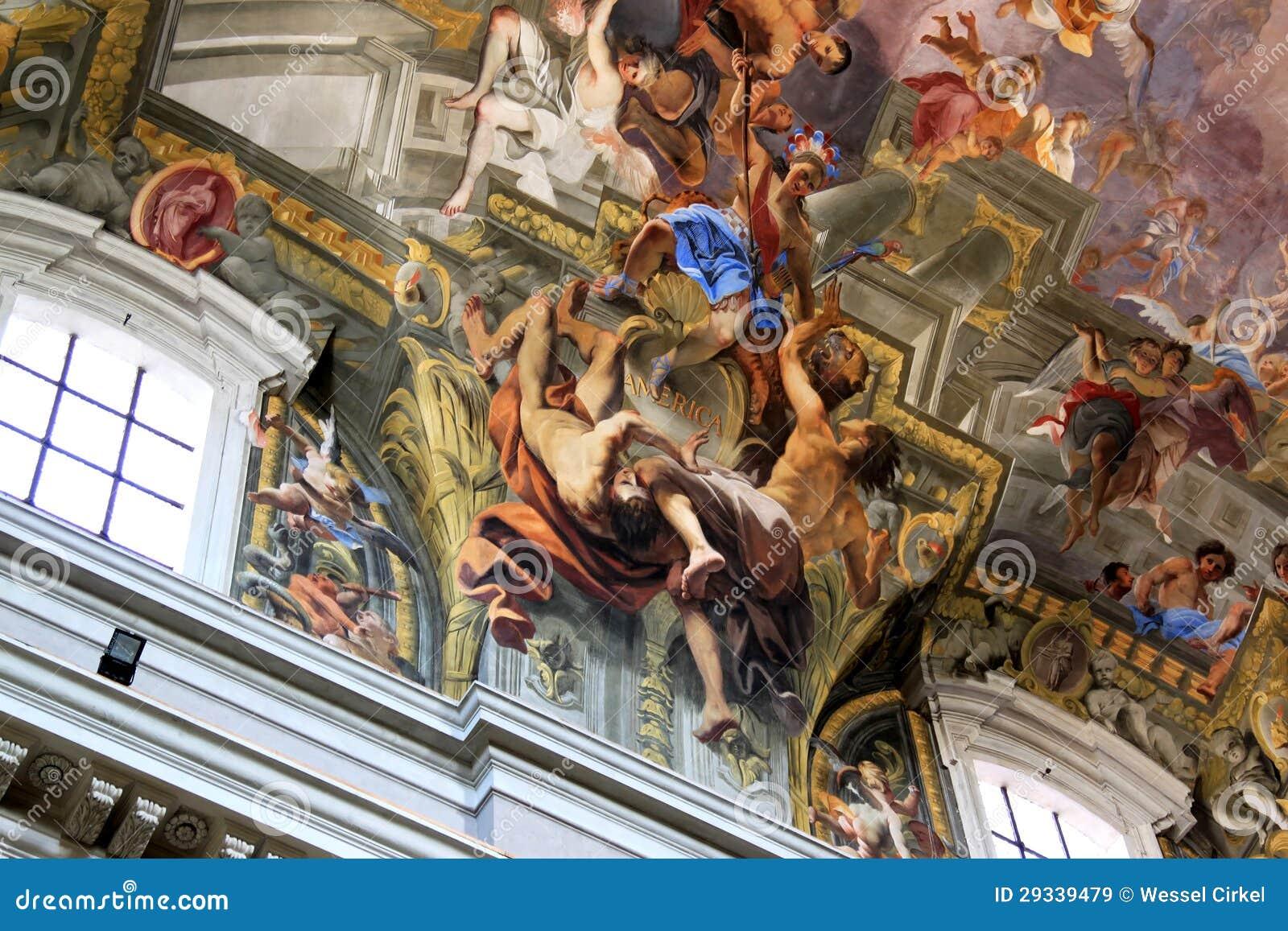 Ceiling Paintings Paintings In Chiesa Di Sant'Ignazio, Rome, Italy Royalty ...