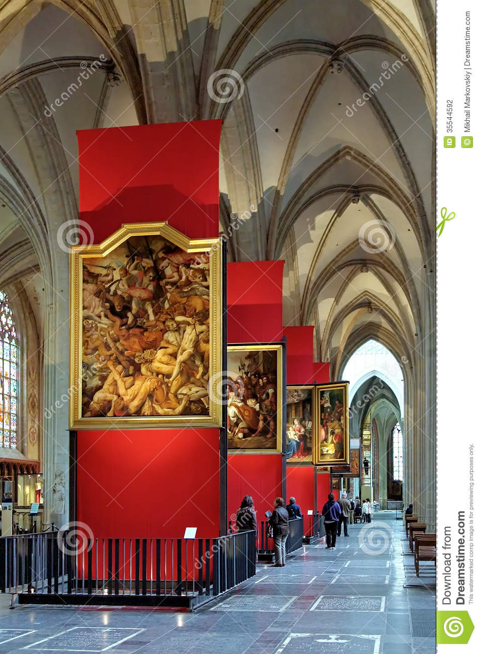 paintings of peter paul rubens in antwerp cathedral editorial photography