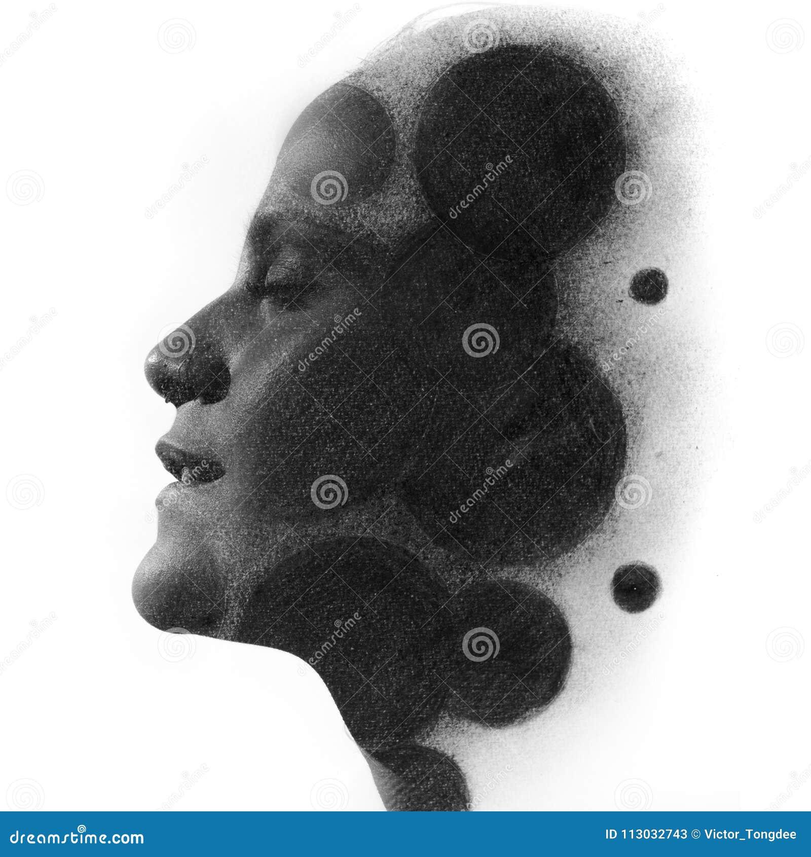 Paintography Dibujo de carbón de leña de la exposición doble combinado con por