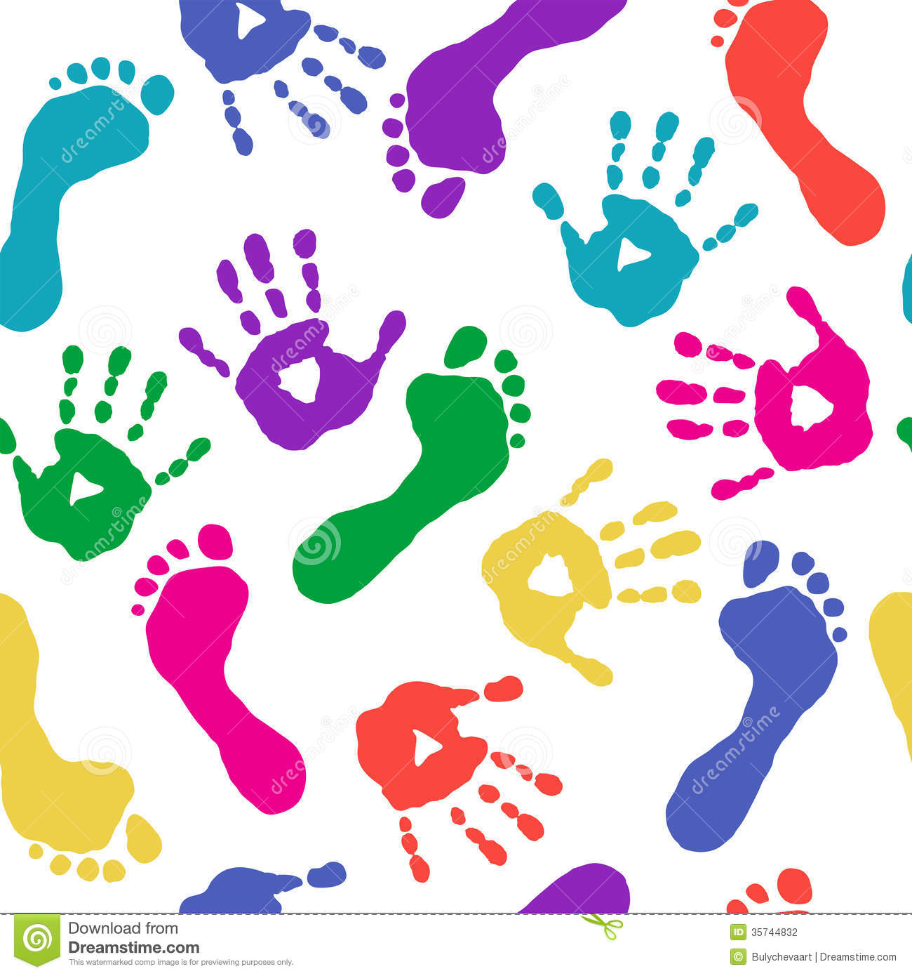 Paints Prints Of Hands And Feet Stock Photography - Image: 35744832