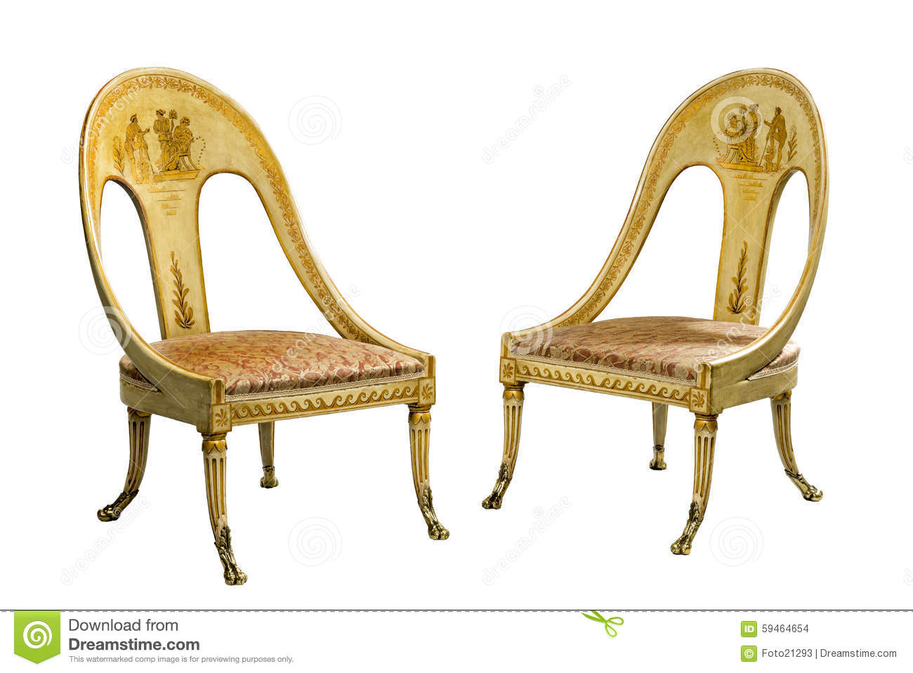 Antique Egyptian Isolated Old Style Vintage Illustration Decoration  Armchair Luxury Furniture ...