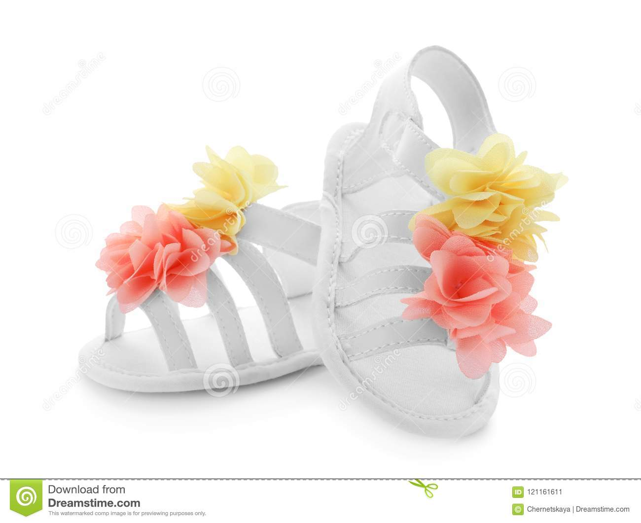 7d39d9608544e5 Pair Of Baby Sandals Decorated With Flowers Stock Image - Image of ...