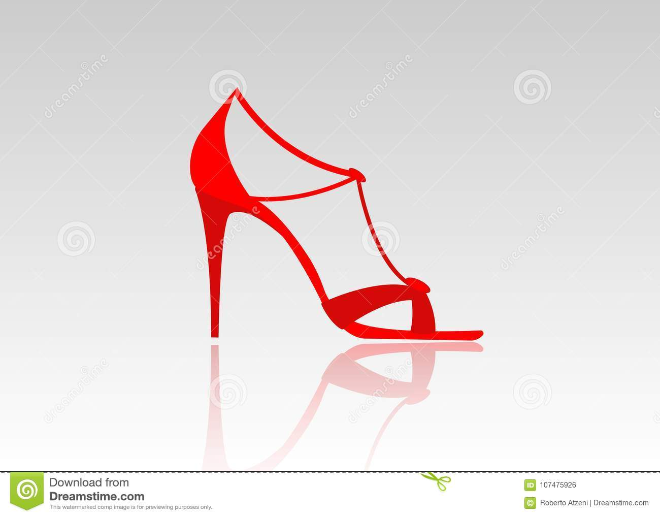 Pair of beautiful red high heels. Female fashionable leather shoes, isolated