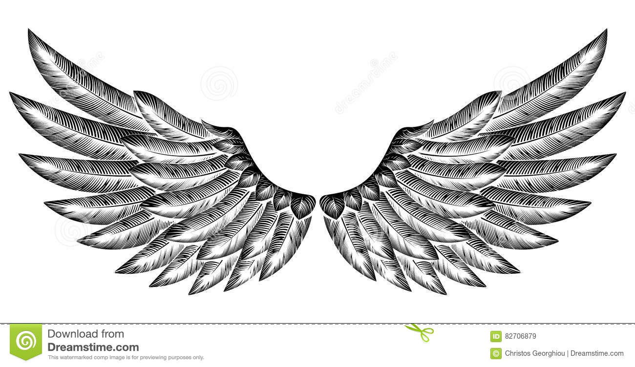 how to draw a pair of wings