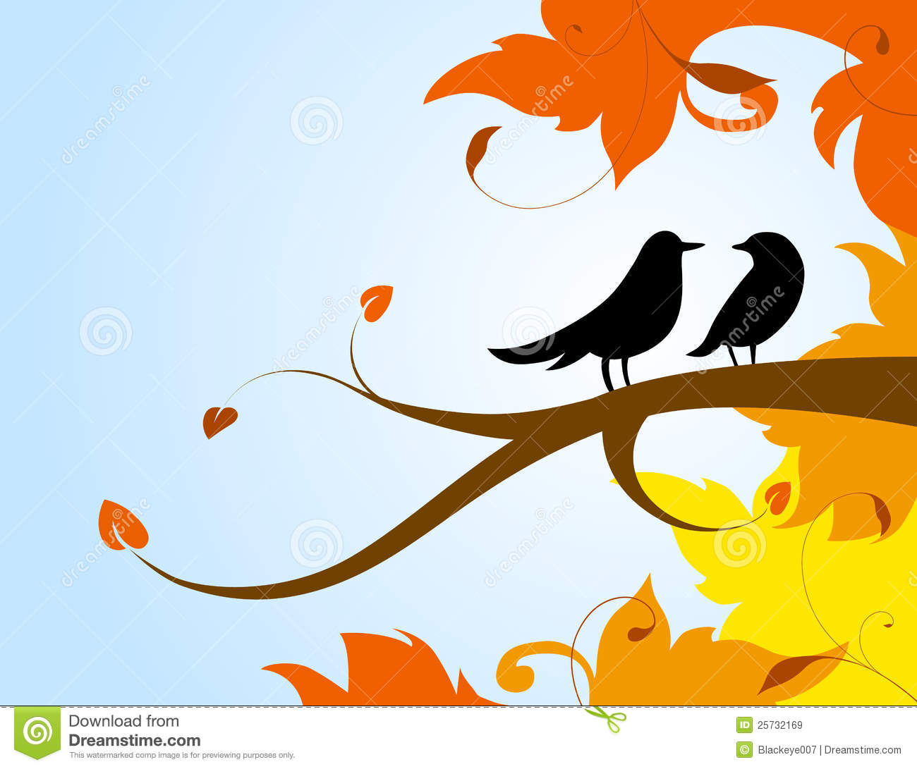 A pair of birds on a branch with the autumn leaves