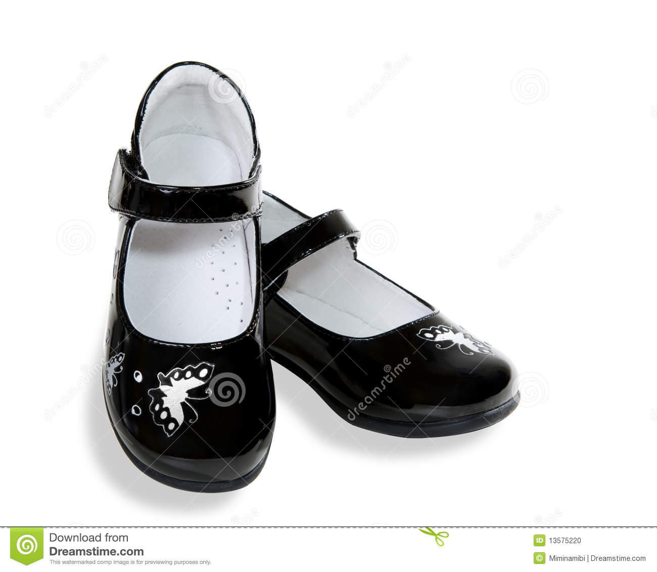 A pair of black baby shoe isolated on white