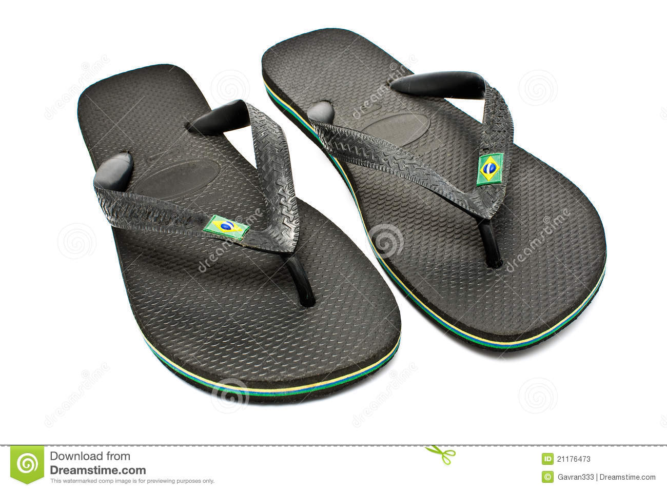 Pair of black rubber flip flop sandals
