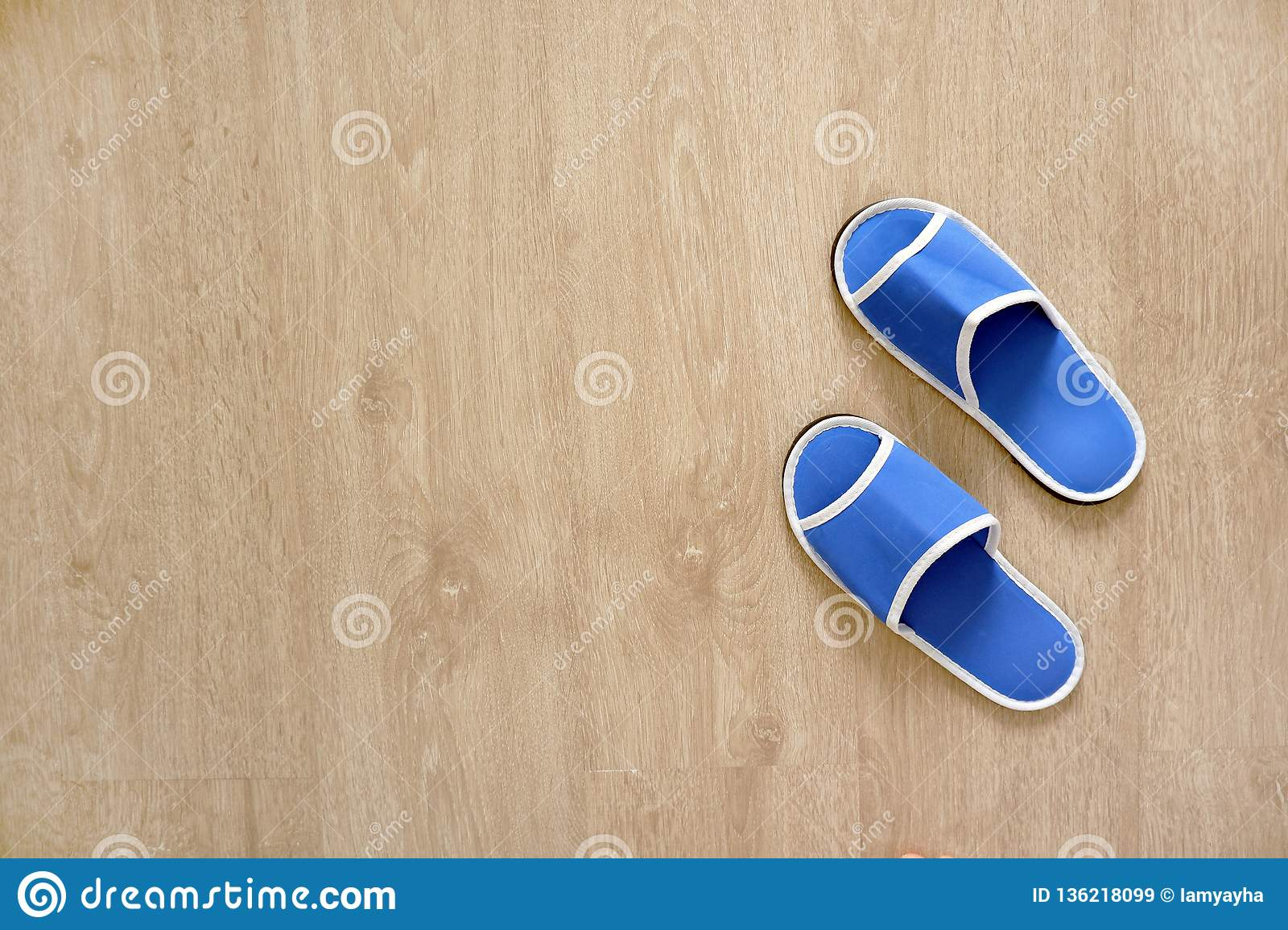 Pair Of Blank Blue House Slippers From Hotel Woman Bed Shoes Clear