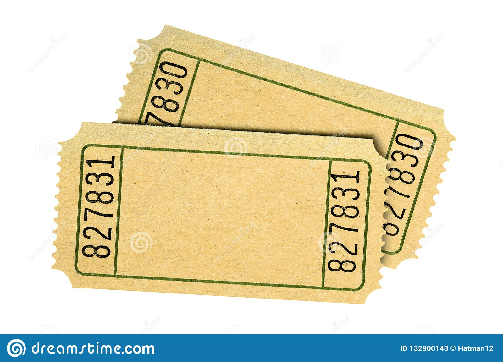 pair blank old movie or raffle tickets isolated white stock image