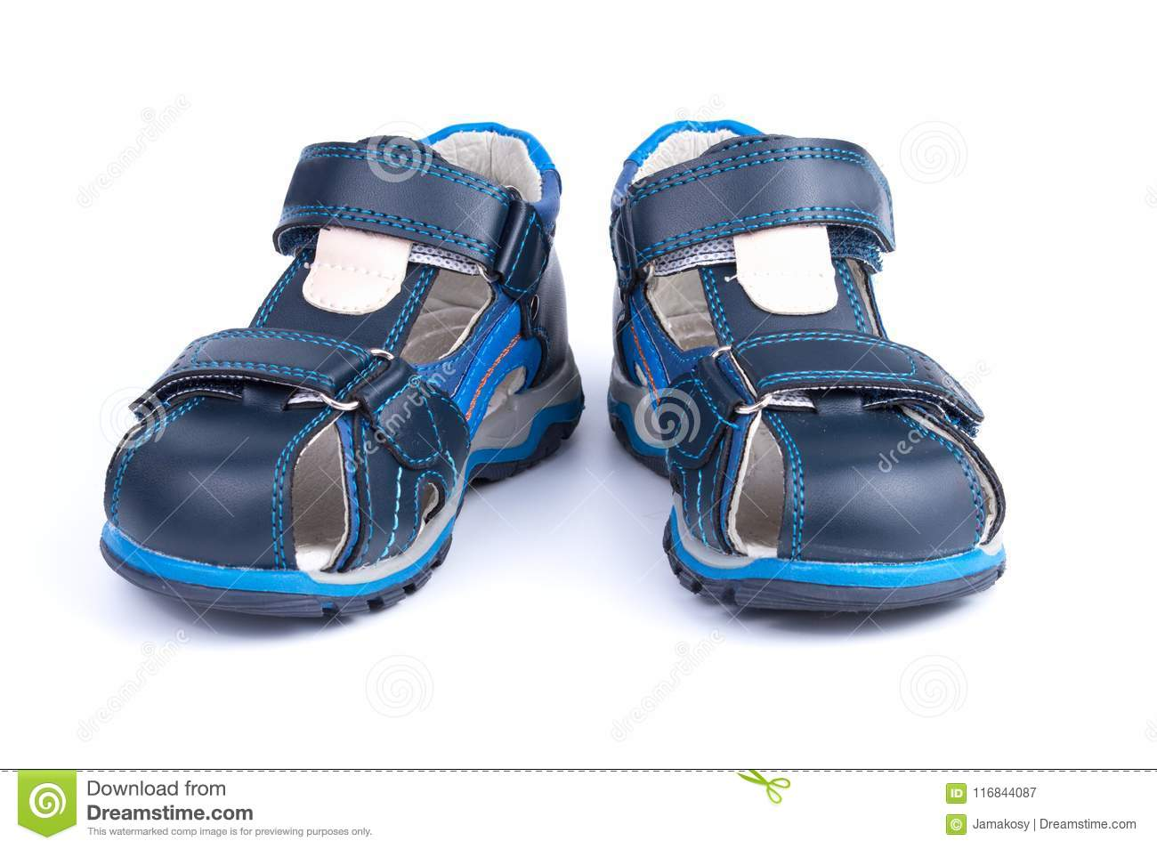 Pair Of Blue Baby Sandals Shoes Isolated On White Background Stock ... 6e0c20caca21