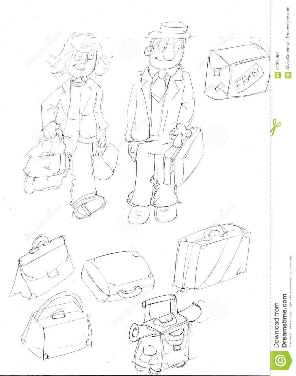 Pair of boys leaving with suitcasessketches and pencil sketches and