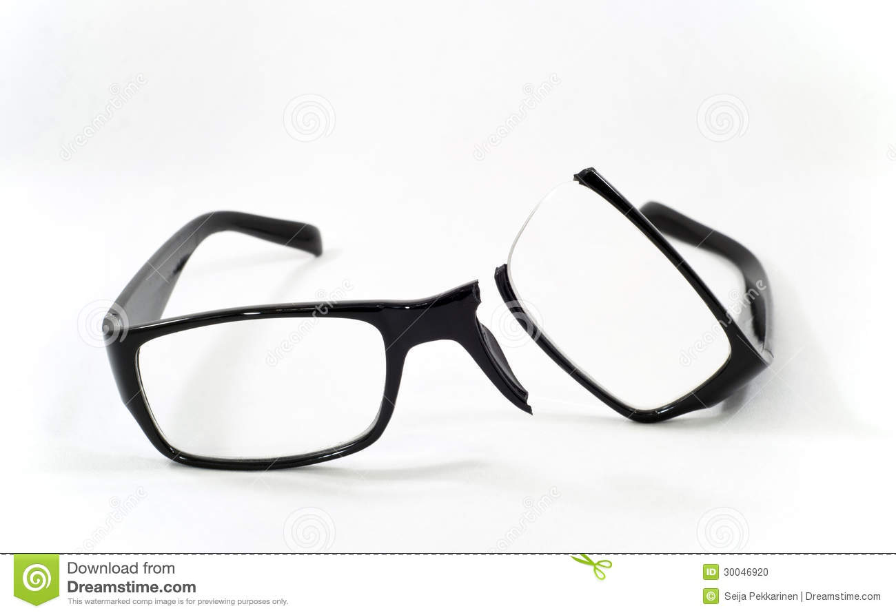 Broken Eyeglasses Stock Photo - Image: 30046920