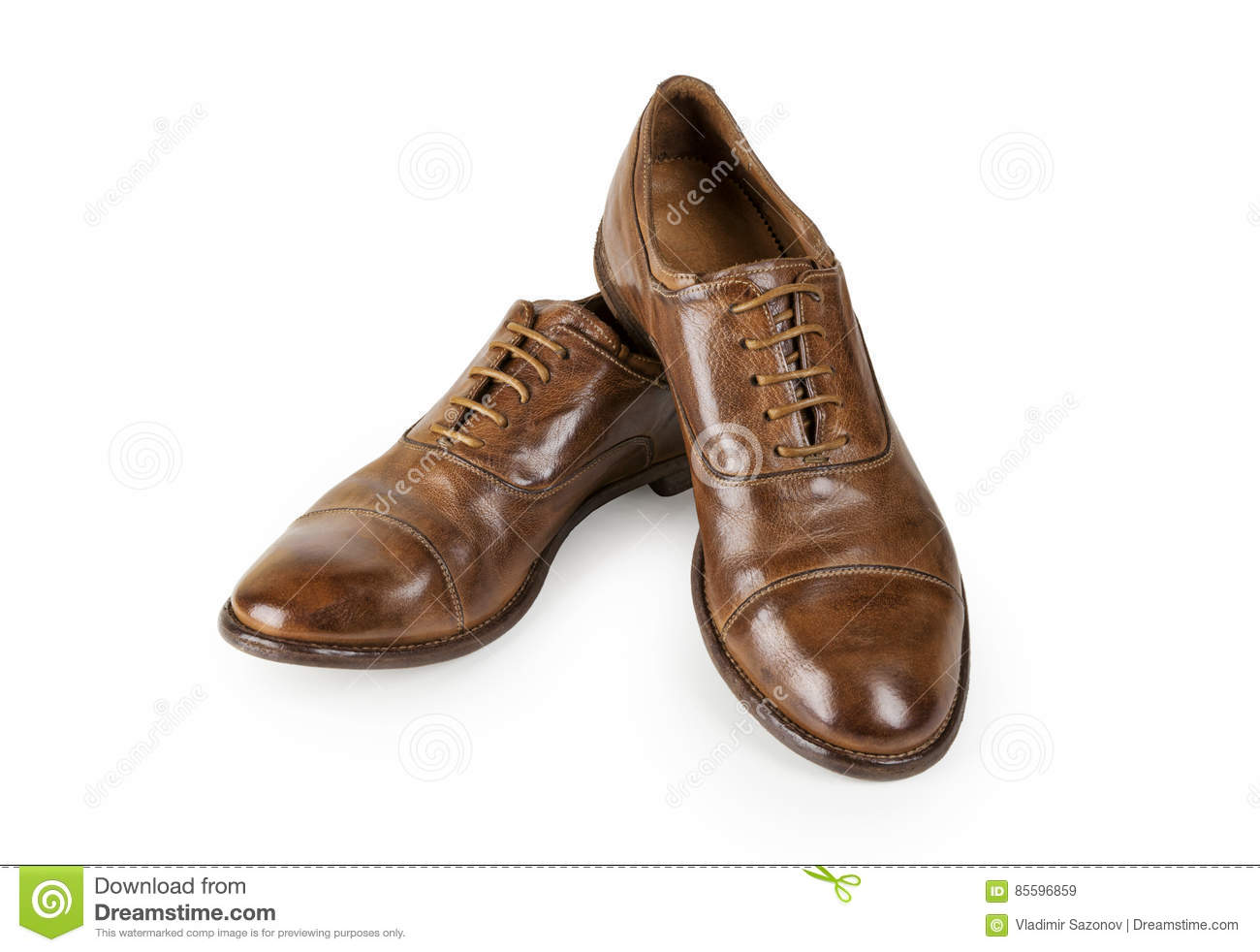 a104b5a58ec4 Pair of brown leather men shoes isolated on white. Men Brown Shoes. Stylish  brown leather shoes. Men`s classic brown leather shoes isolated on white ...