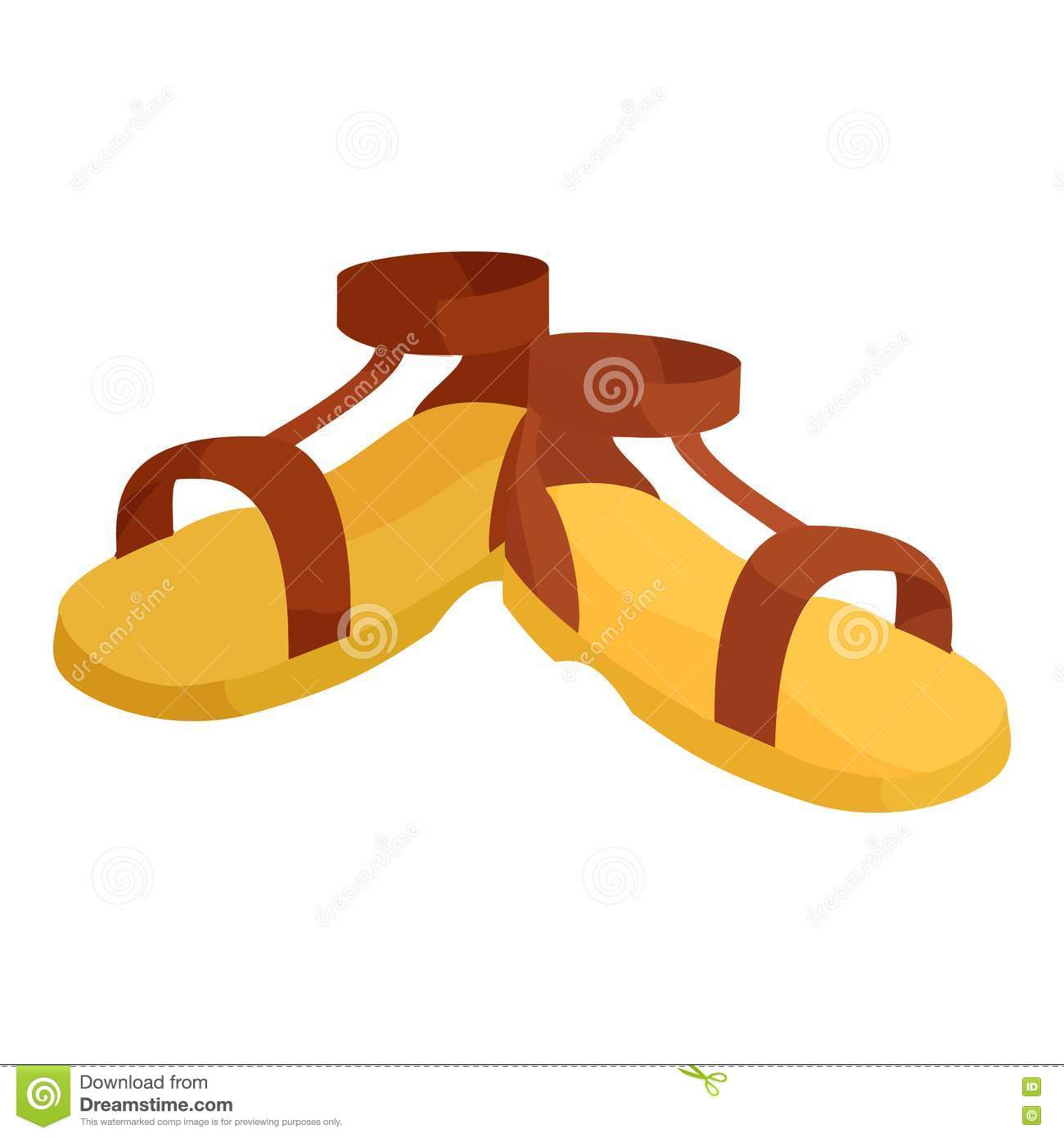 pair of brown sandals icon  cartoon style stock vector shoelace vector vector shoe print