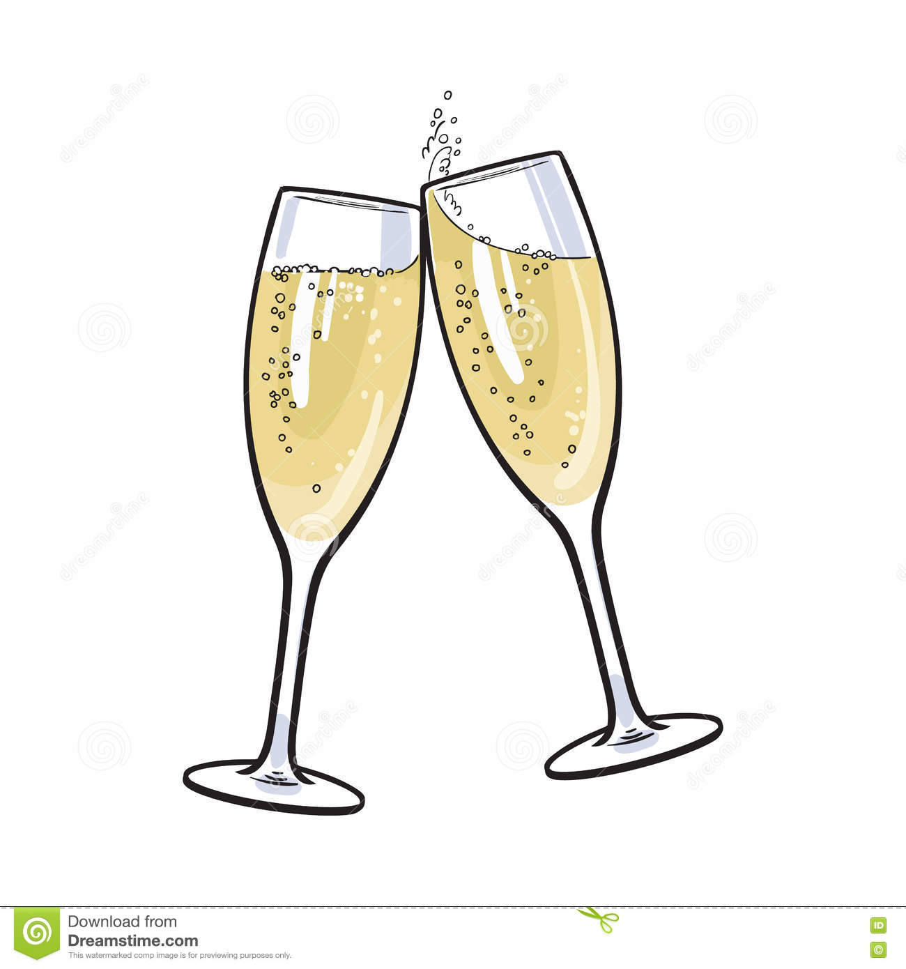 champagne glass clip art with bubbles
