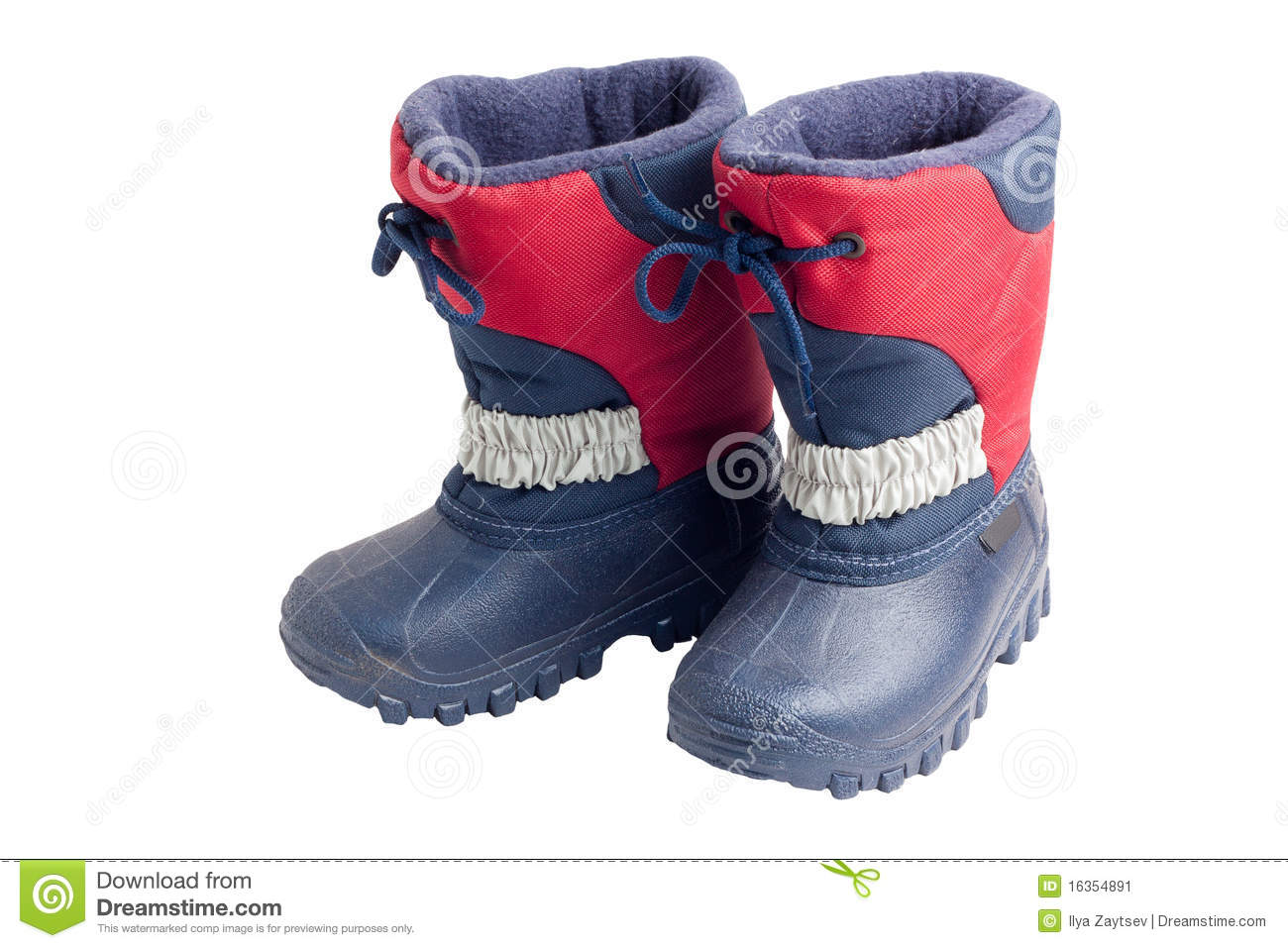 Pair Of Child's Winter Boots With Rubber Sole Stock Image
