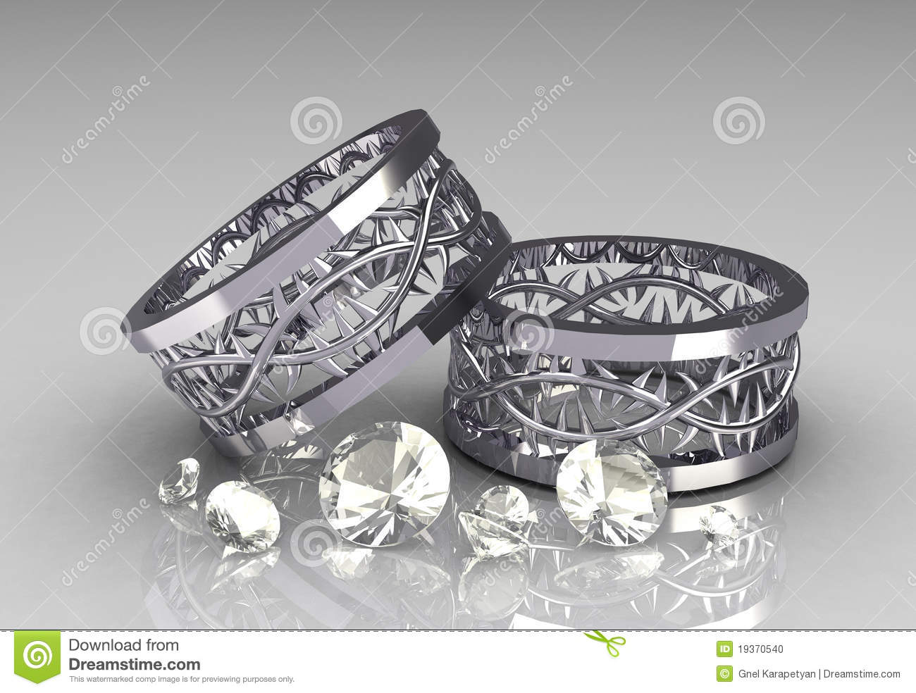 stock photo pair christs crown white gold wedding bands image white gold wedding bands Pair of Christs Crown White Gold Wedding Bands