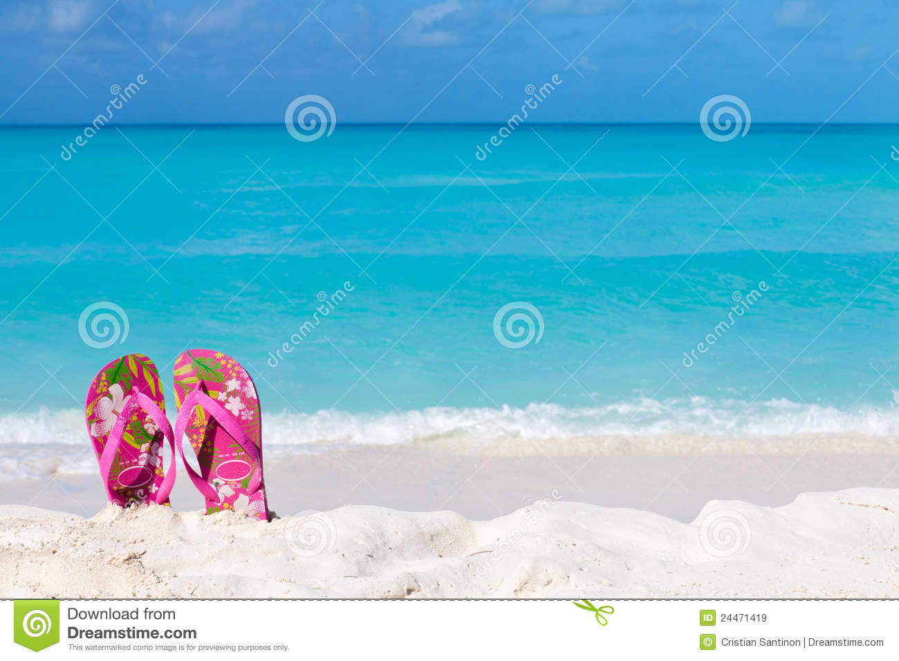 7ed29dda3 Pair Of Colored Sandals On A White Sand Beach Stock Image - Image of ...